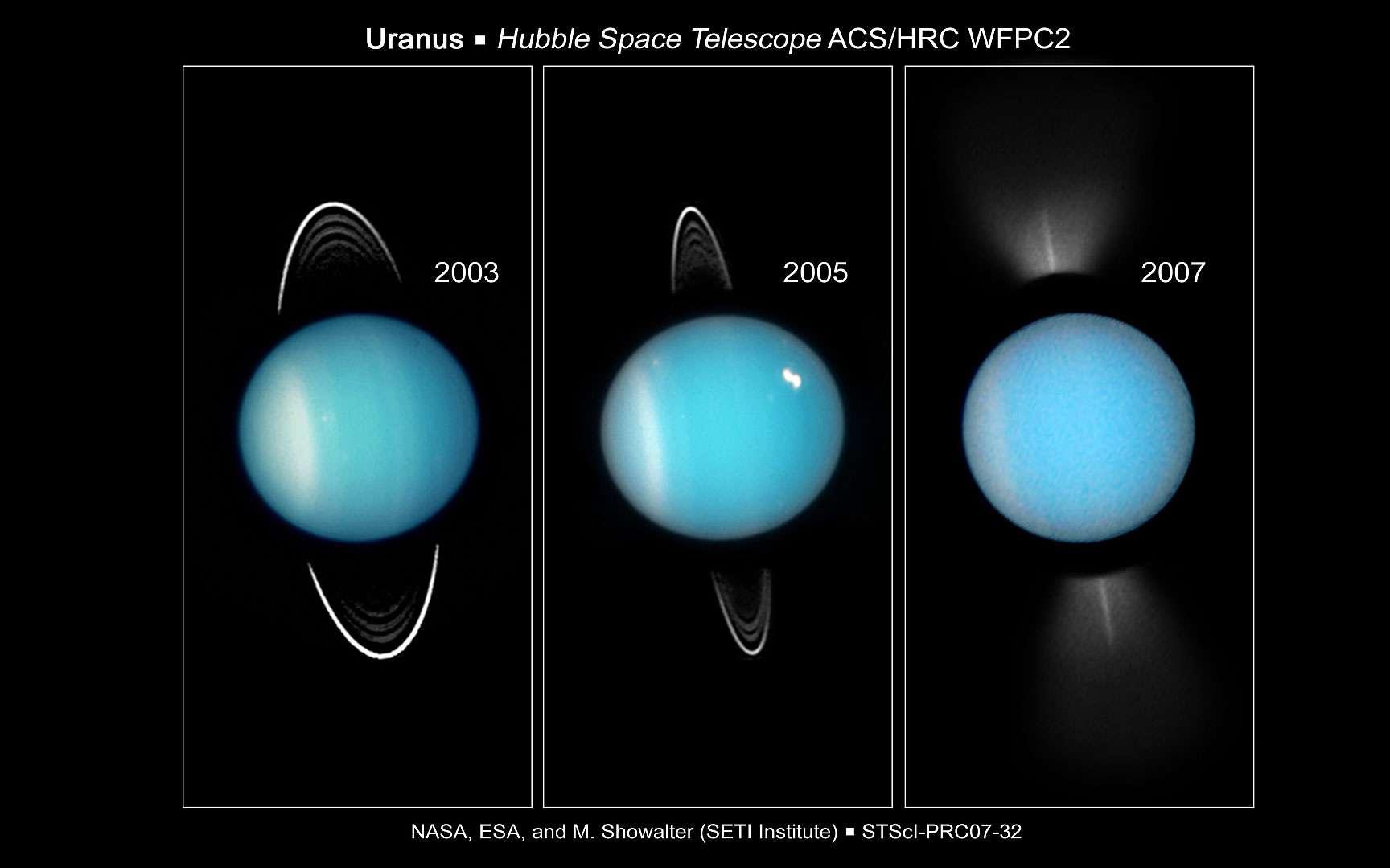 Uranus vue en infrarouge par le Keck II. Images de la planète Uranus et de son système d'anneaux vus en infrarouge par le télescope Keck II de Hawaii équipé d'optique adaptative.