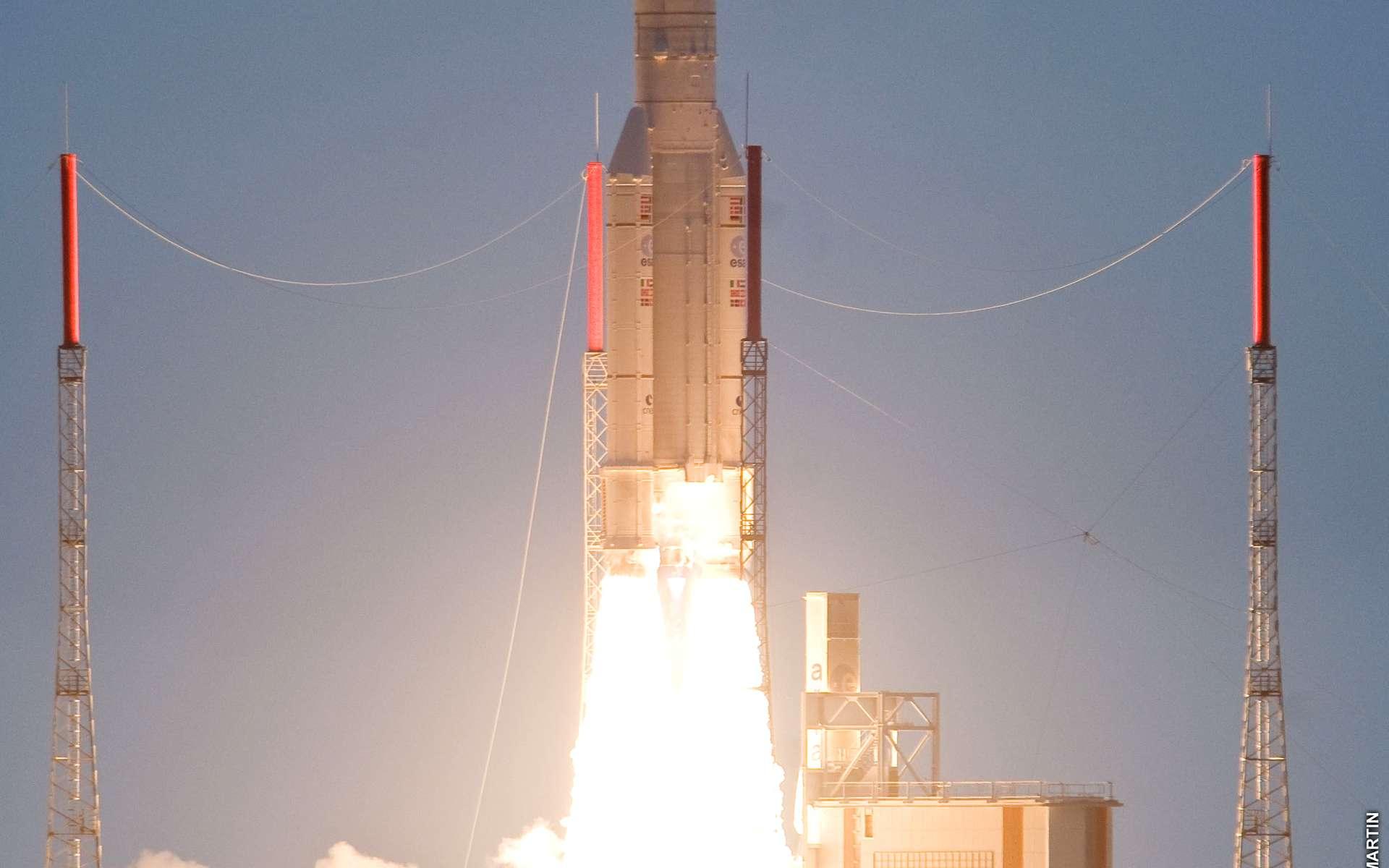 Ce que l'on aurait aimé voir hier soir. Ici, le décollage d'une Ariane 5 ECA, transportant les satellites NSS-12 et Thor 6, le 29 octobre 2009. © Arianespace