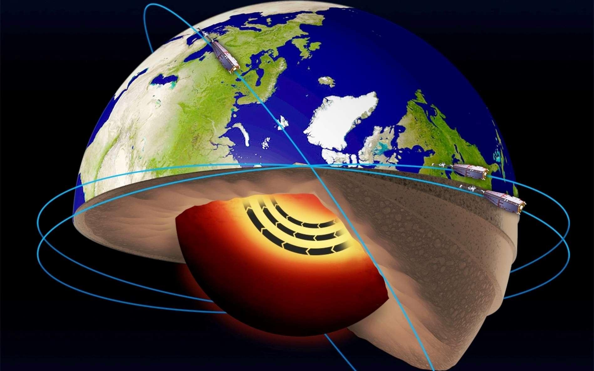 Un « jet-stream » de fer en fusion a été découvert dans le noyau de la Terre ! © ESA