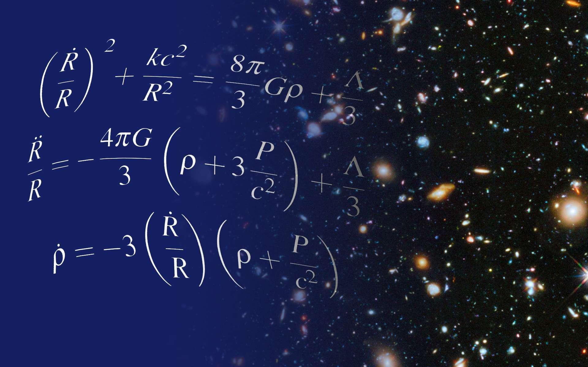 Les équations d'Einstein pour la cosmologie du modèle standard contiennent un terme décrivant ce que l'on peut interpréter comme une énergie particulière dans l'Univers. L'étude des galaxies a montré que ce terme existait bien, on dit souvent qu'il s'agit de l'énergie noire, qui accélère l'expansion du cosmos depuis quelques milliards d'années. © Shane L. Larson