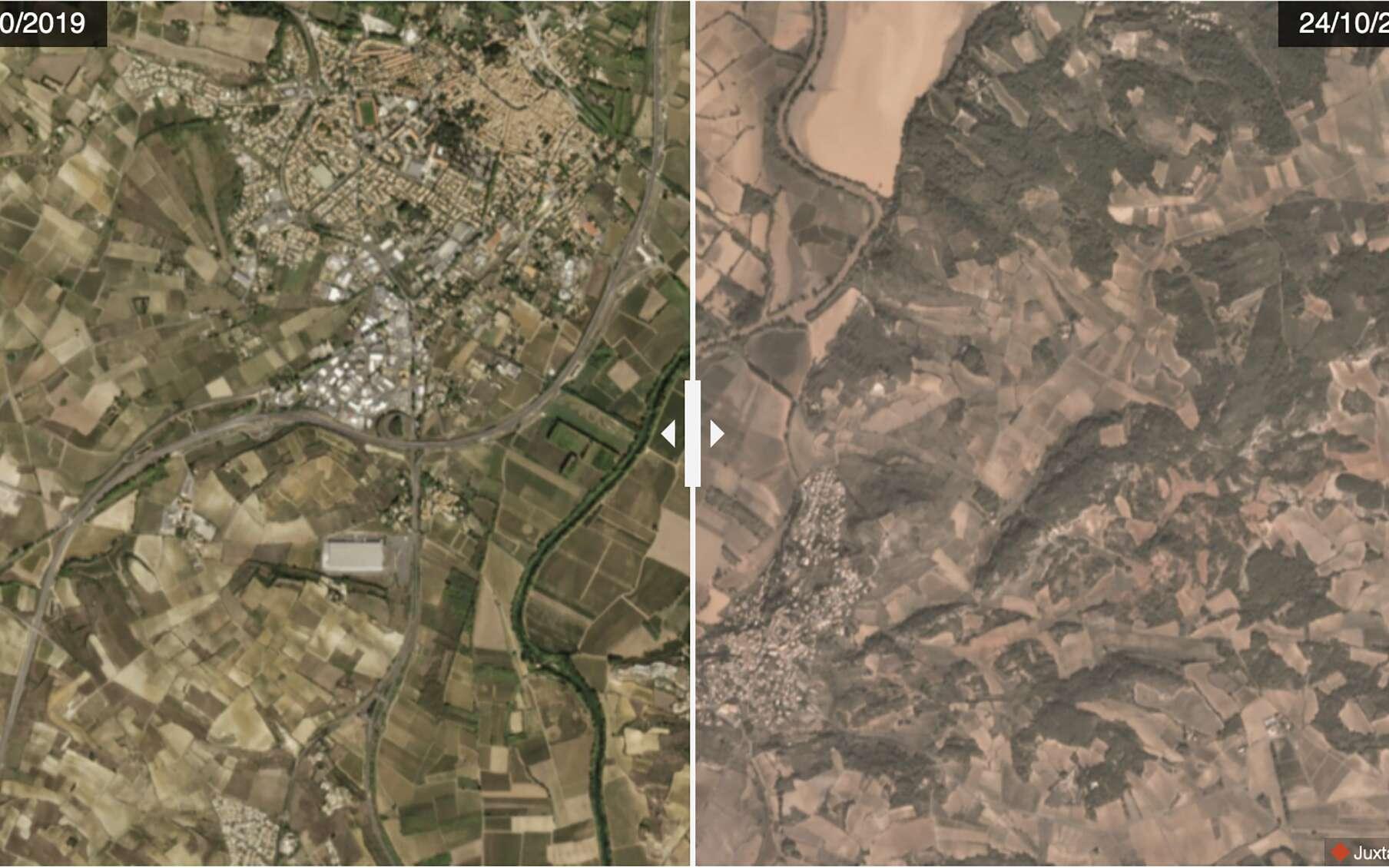 Inondations dans les communes de Pézenas et Castelnau-de-Guers vues depuis les satellites Dove de Planet. © 2019 Planet Labs, Inc.