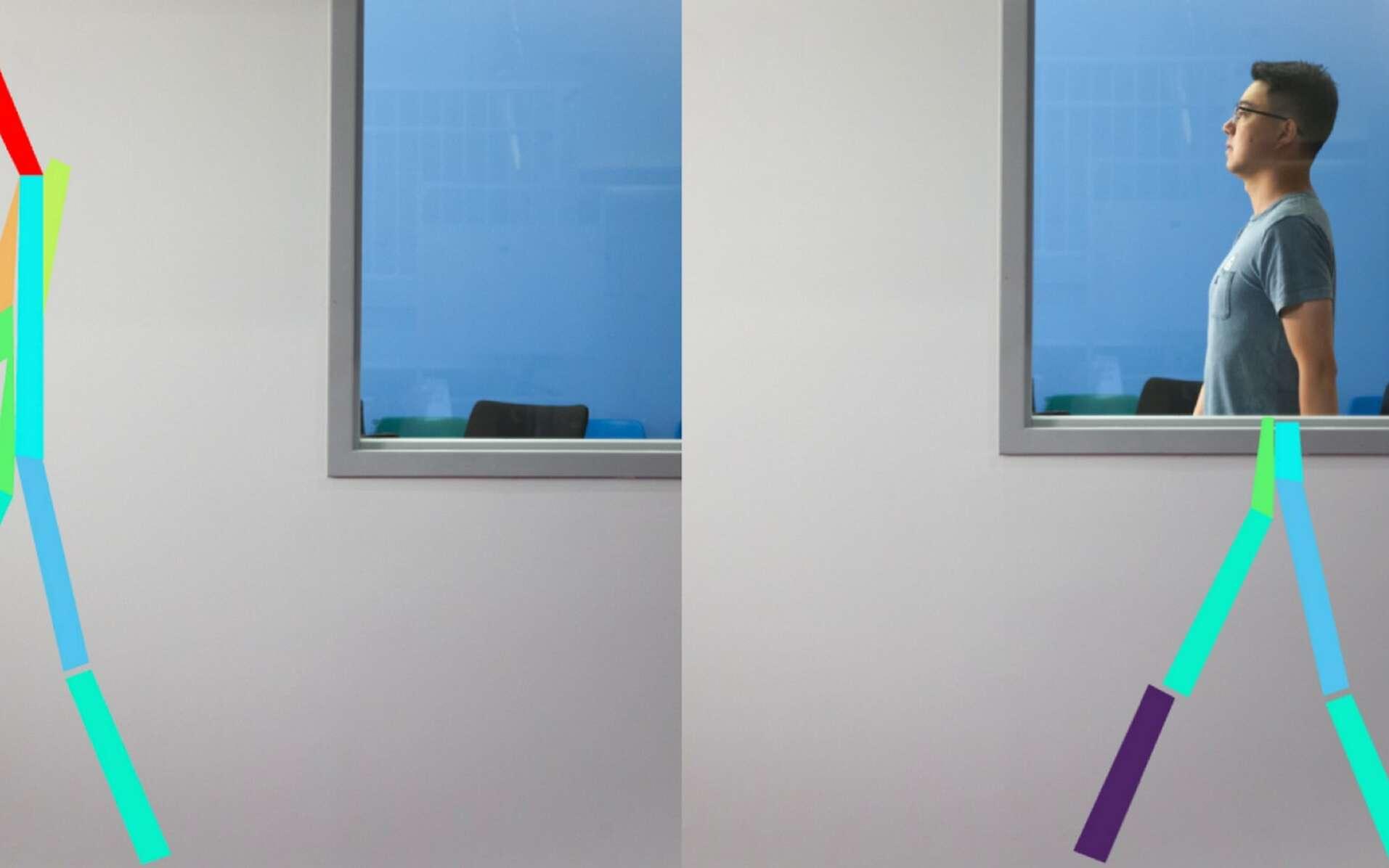 Le dispositif RF-Pose détecte la silhouette et les mouvements d'une personne en temps réel à travers les murs et matérialise sa « vision » sous la forme d'un squelette. © Jason Dorfman/MIT CSAIL