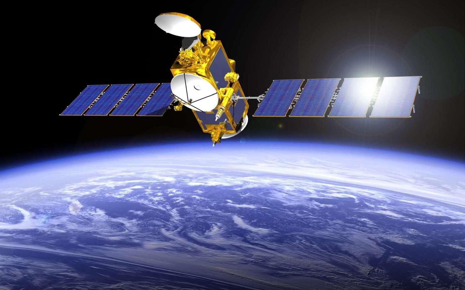 Vue d'artiste de Jason 3. Ce satellite d'altimétrie, à poste depuis janvier, mesure le niveau de l'océan avec une précision de 3,4 cm. © Cnes, Mira Productions