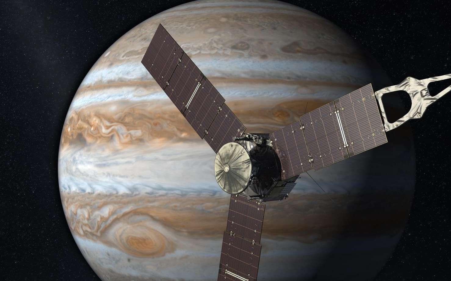 Un montage des observations de Jupiter par Hubble. Les aurores polaires sont en fausses couleurs car observées en ultraviolet. © Nasa, ESA, J. Nichols (University of Leicester)