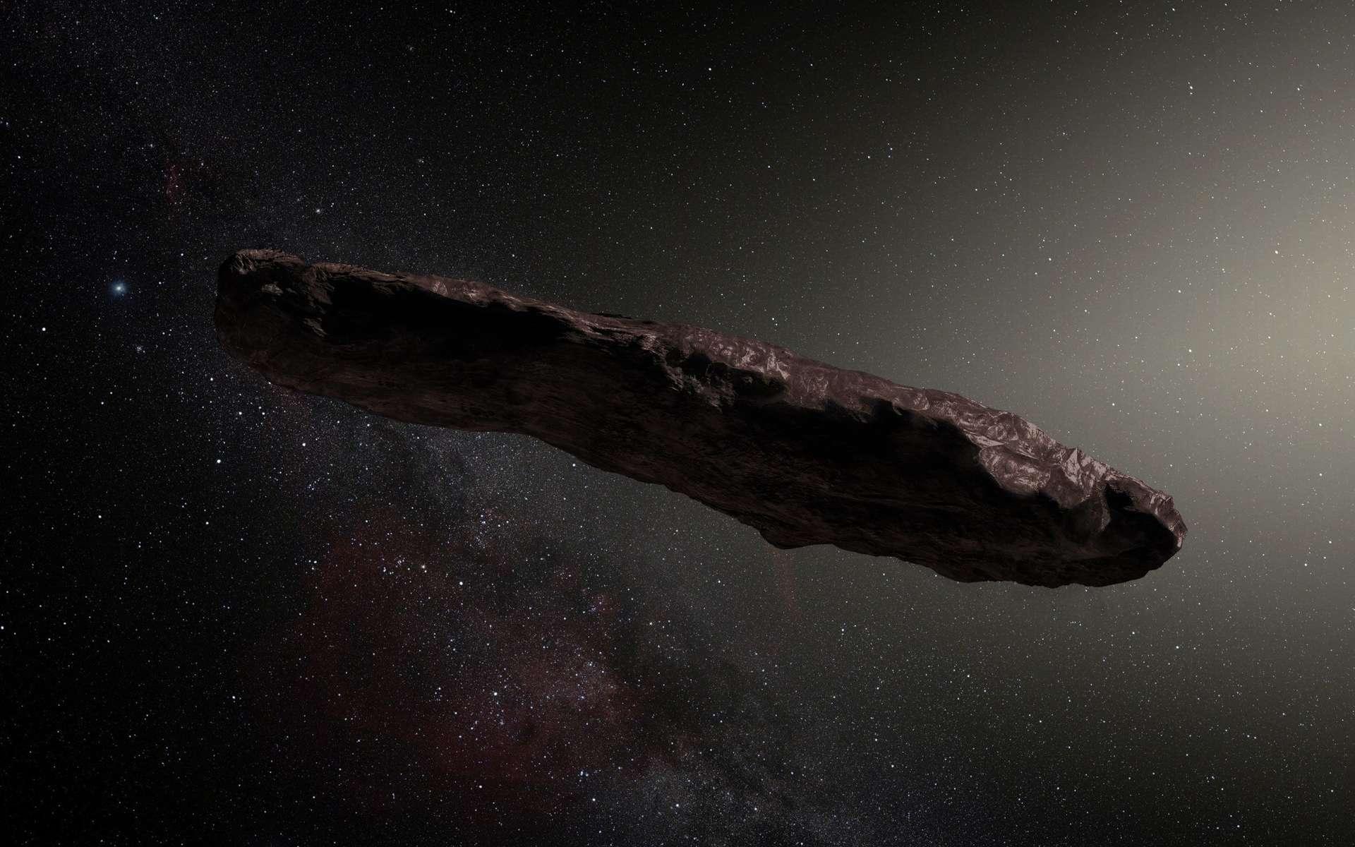 Illustration de l'objet interstellaire ʻOumuamua, découvert en 2017 lors de sa traversée du Système solaire. © ESA