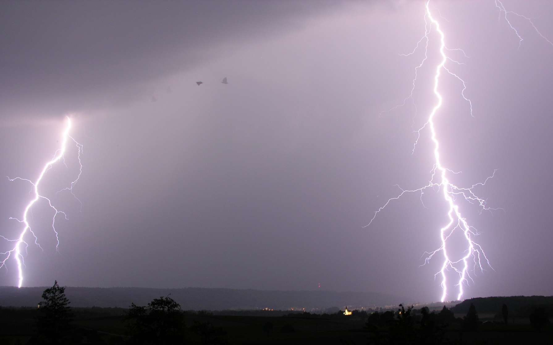 Eclairs durant un orage au dessus de Schaffhausen, Suisse, 2009 ; photo de Hansueli Krapf. © Wikimedia Commons, domaine public.