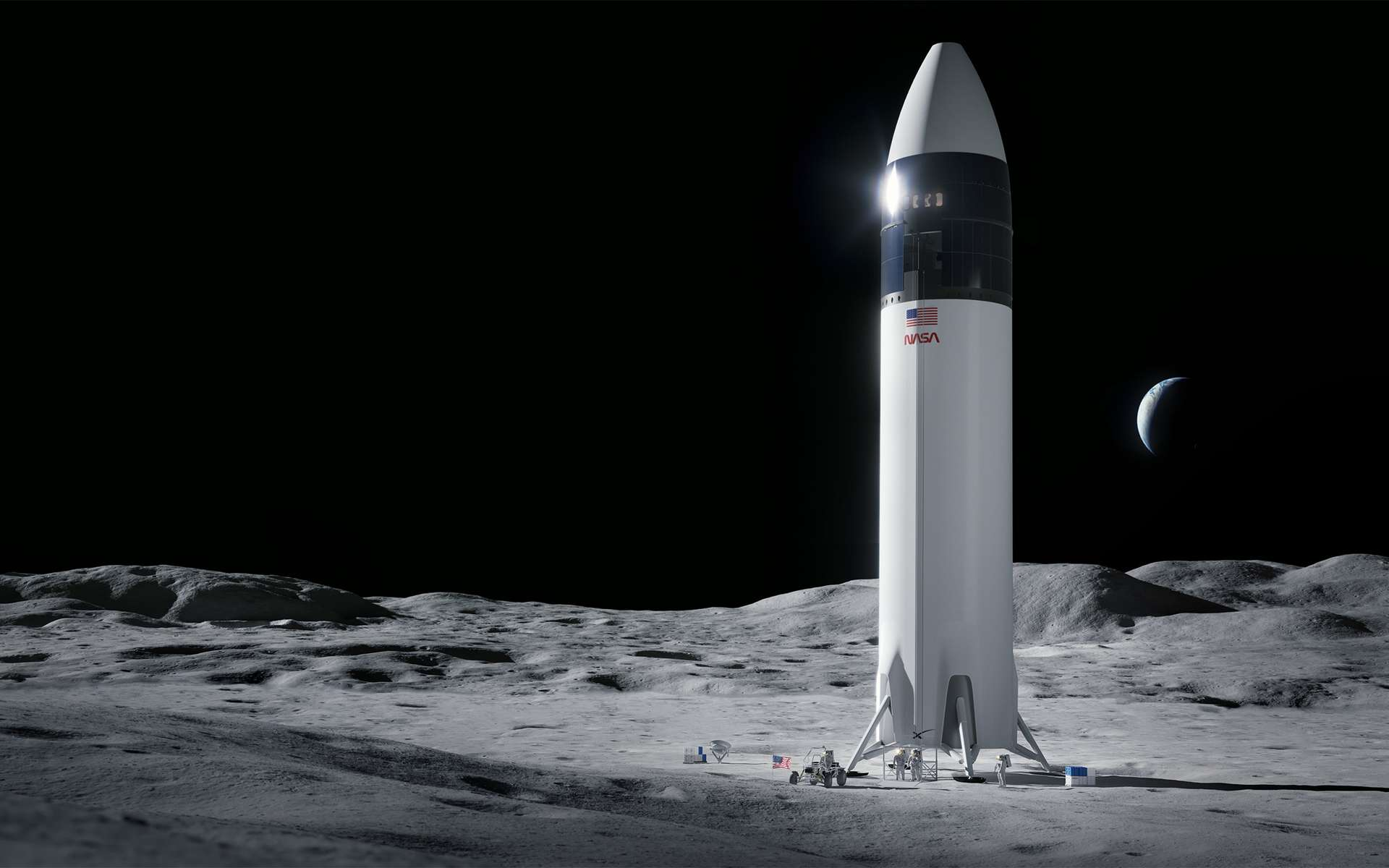 La version lunaire du Starship de SpaceX sera utilisée pour transporter sur la Lune les astronautes des missions Artemis de la Nasa. © SpaceX
