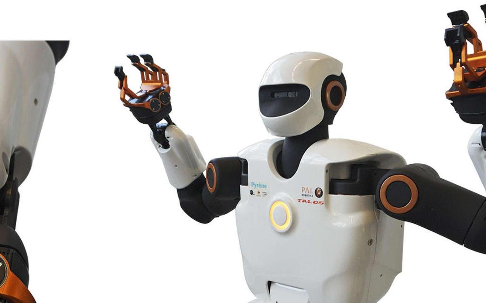 Le robot Pyrène est le fruit d'une collaboration entre le Laboratoire d'analyse et d'architecture des systèmes (LAAS) du CNRS et la société espagnole PAL Robotics. © Olivier Stasse/LAAS/CNRS
