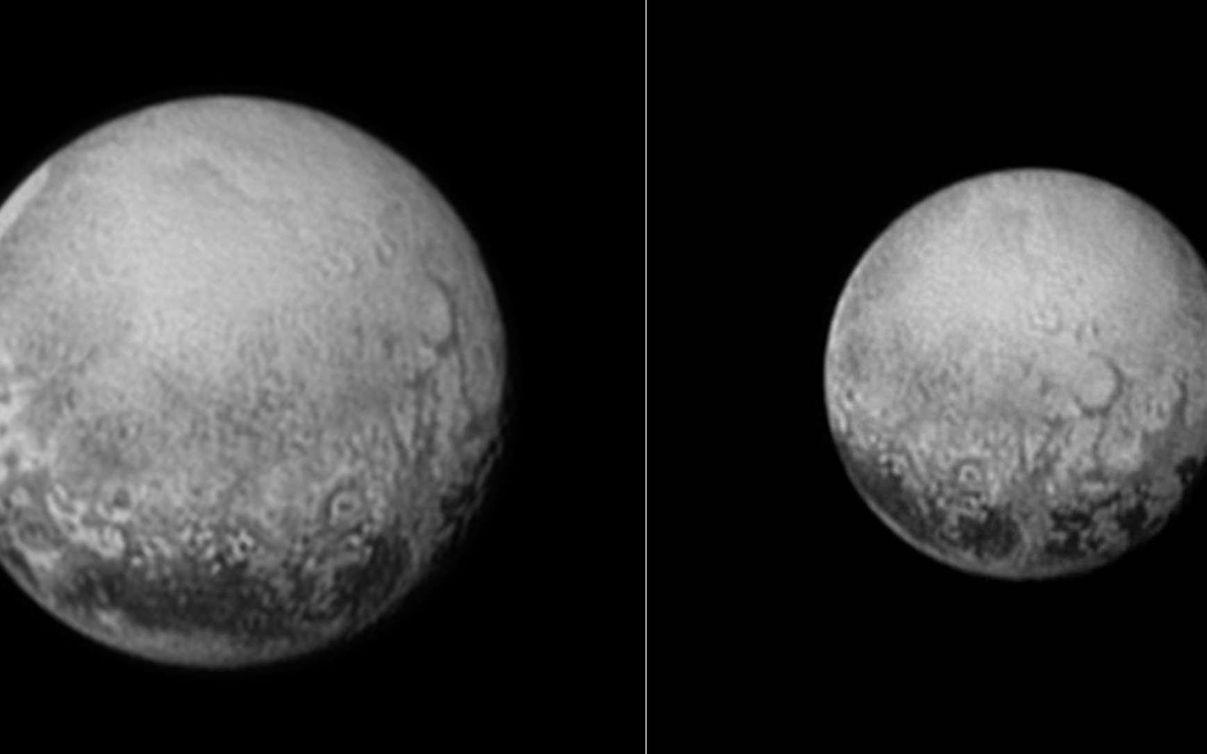 Sur ces images prises par la sonde New Horizons, les 10 (la petite image) et 11 juillet, à environ 4 millions de kilomètres pour la seconde, on découvre avec une résolution inégalée, la partie de Pluton qui fait toujours face à Charon. « C'est le dernier et meilleur regard sur cette face de Pluton que l'on puisse avoir pour les décennies à venir » a déclaré Alan Stern qui dirige cette mission. On distingue plusieurs taches sombres régulières en bas du globe, le long de l'équateur et aussi des structures circulaires et parfois polygonales, des régions complexes, d'aspect grumeleux, et de nature encore inconnue, environnent la bande équatoriale. © Nasa, Johns Hopkins University Applied Physics Laboratory, Southwest Research Institute