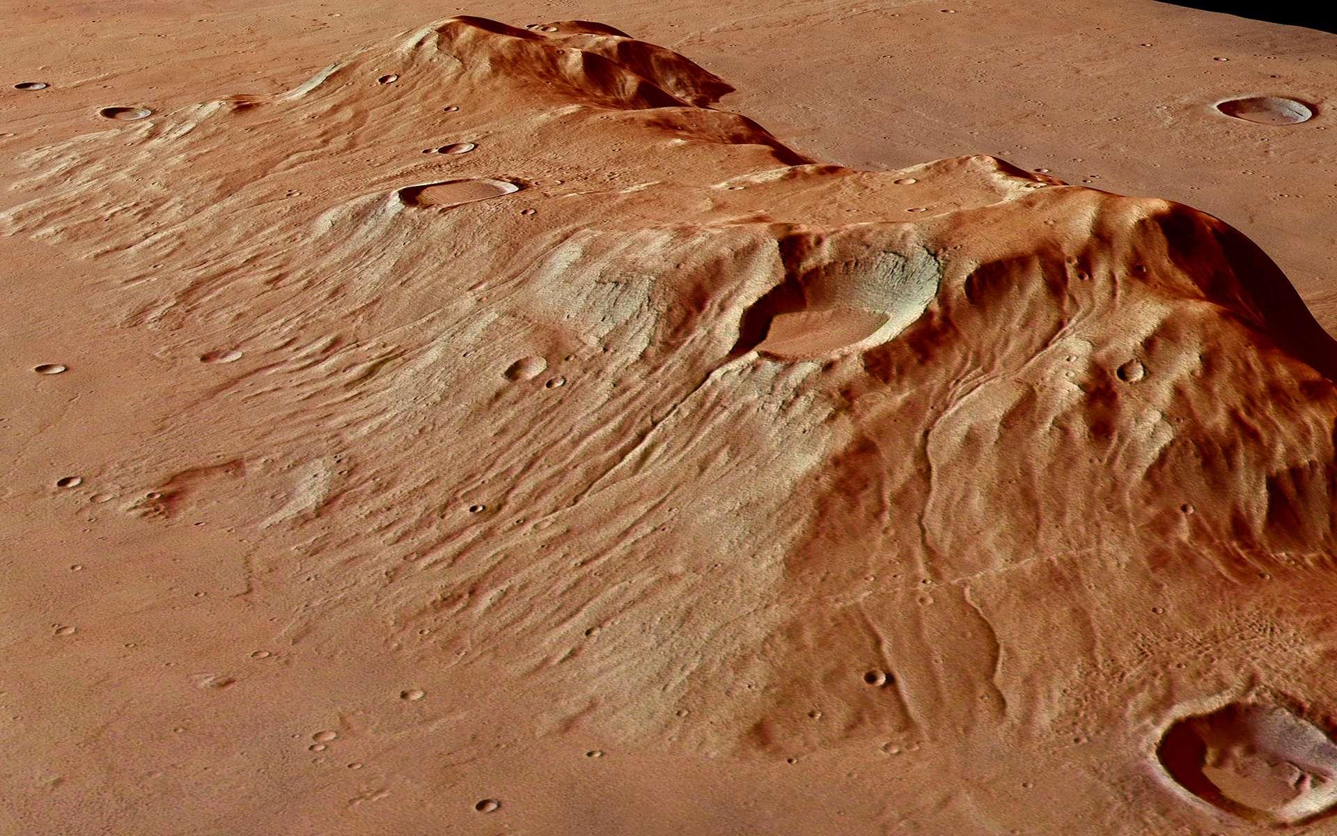La montagne martienne Ausonia Mensa, haute de 3.700 mètres et couvrant une superficie de 98 x 48 km. @ ESA, DLR, FU Berlin, CC by-sa 3.0 IGO