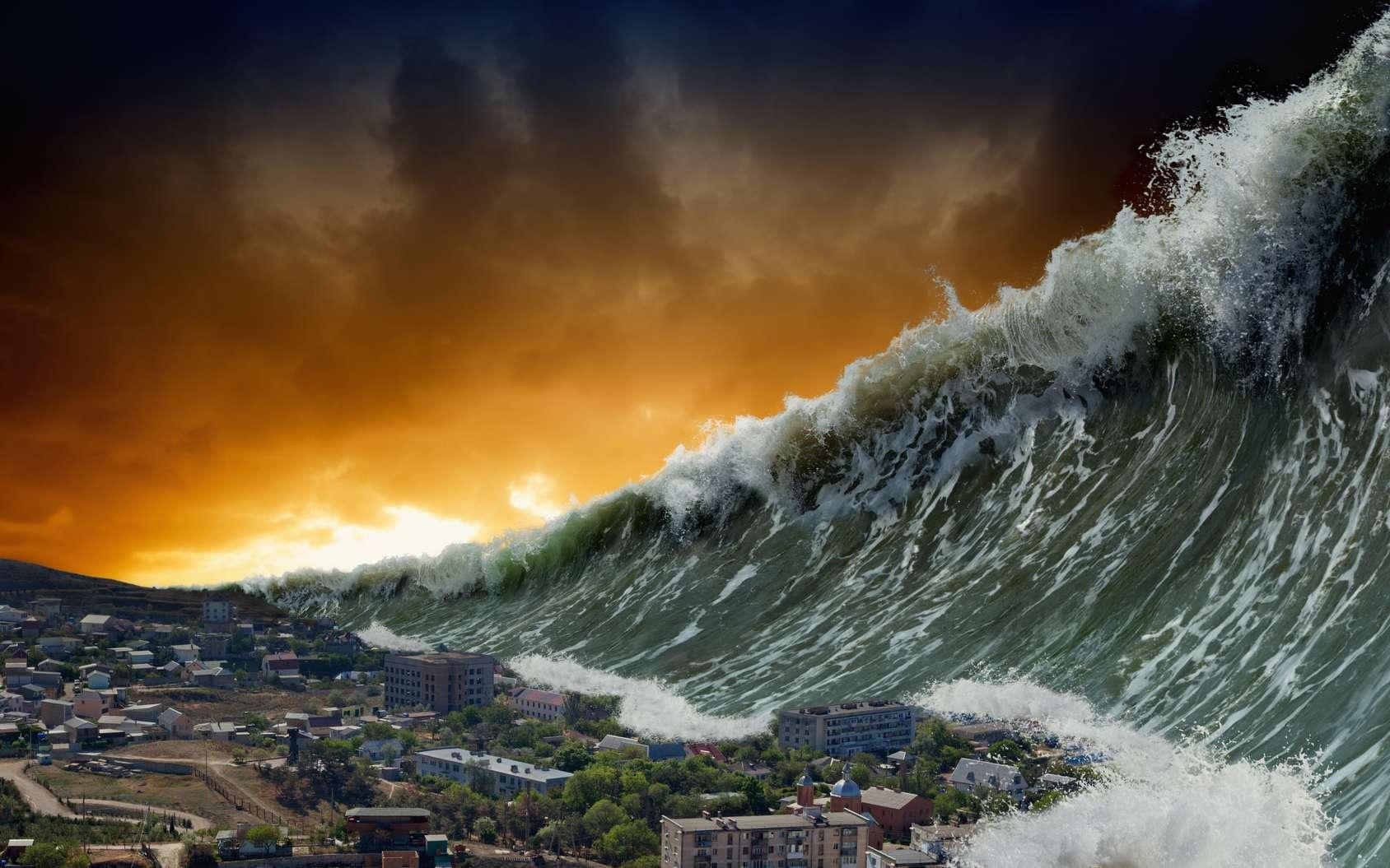 La prévision des tsunamis est-elle possible ? Ici, une vue d'artiste d'un tsunami géant. © Ig0rZh, Fotolia