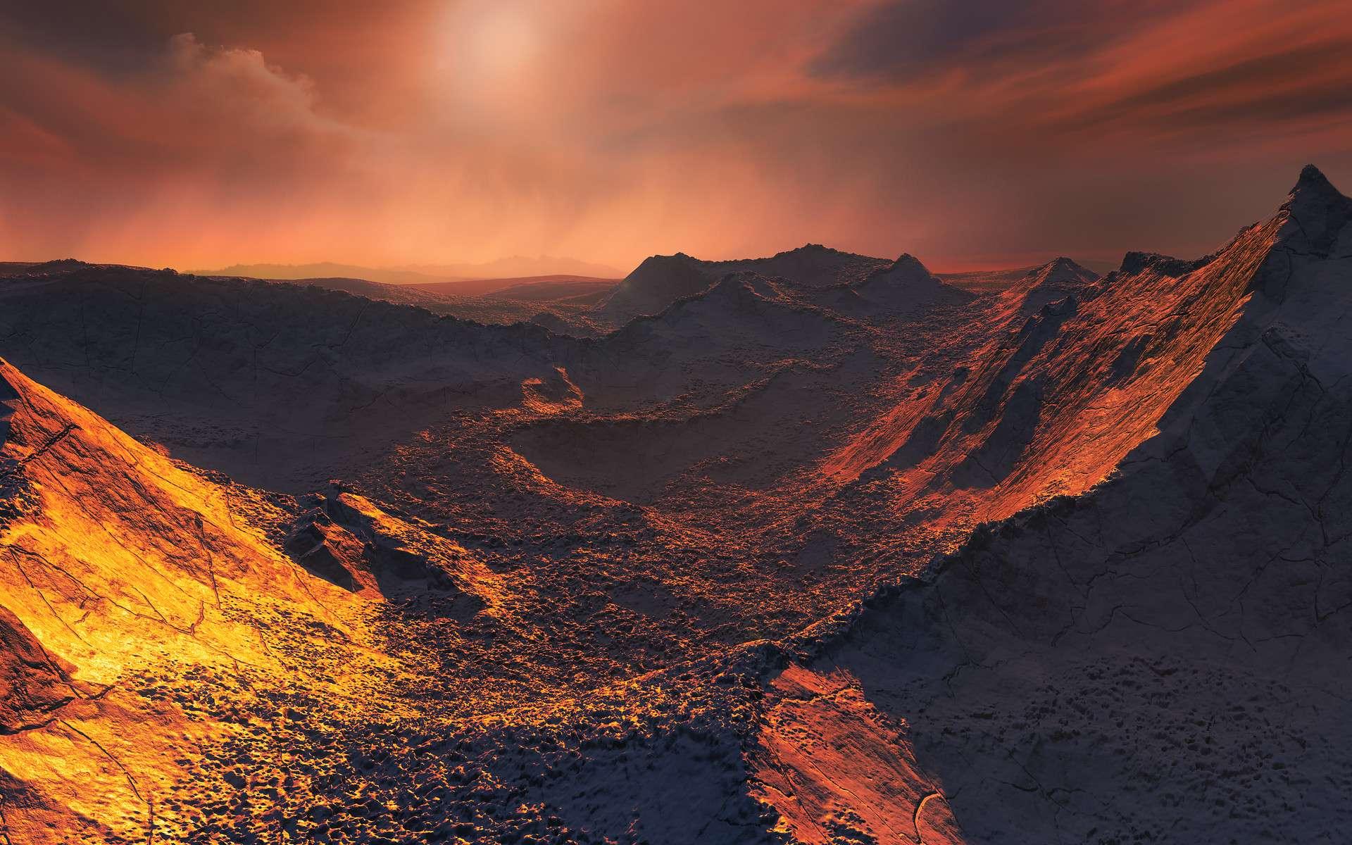 L'étoile simple la plus proche du Soleil abrite une exoplanète dont la masse excède les 3,2 masses terrestres, soit une superterre. Des données issues d'un réseau mondial de télescopes parmi lesquels figure l'instrument Harps, le chasseur de planètes de l'ESO, ont mis au jour l'existence de ce monde glacé et peu éclairé. Cette planète nouvellement découverte constitue la seconde exoplanète la plus proche de la Terre en orbite autour de l'étoile qui se déplace le plus rapidement dans le ciel nocturne. Sur cette image, figure une vue d'artiste de la surface de la planète. © ESO, M. Kornmesser