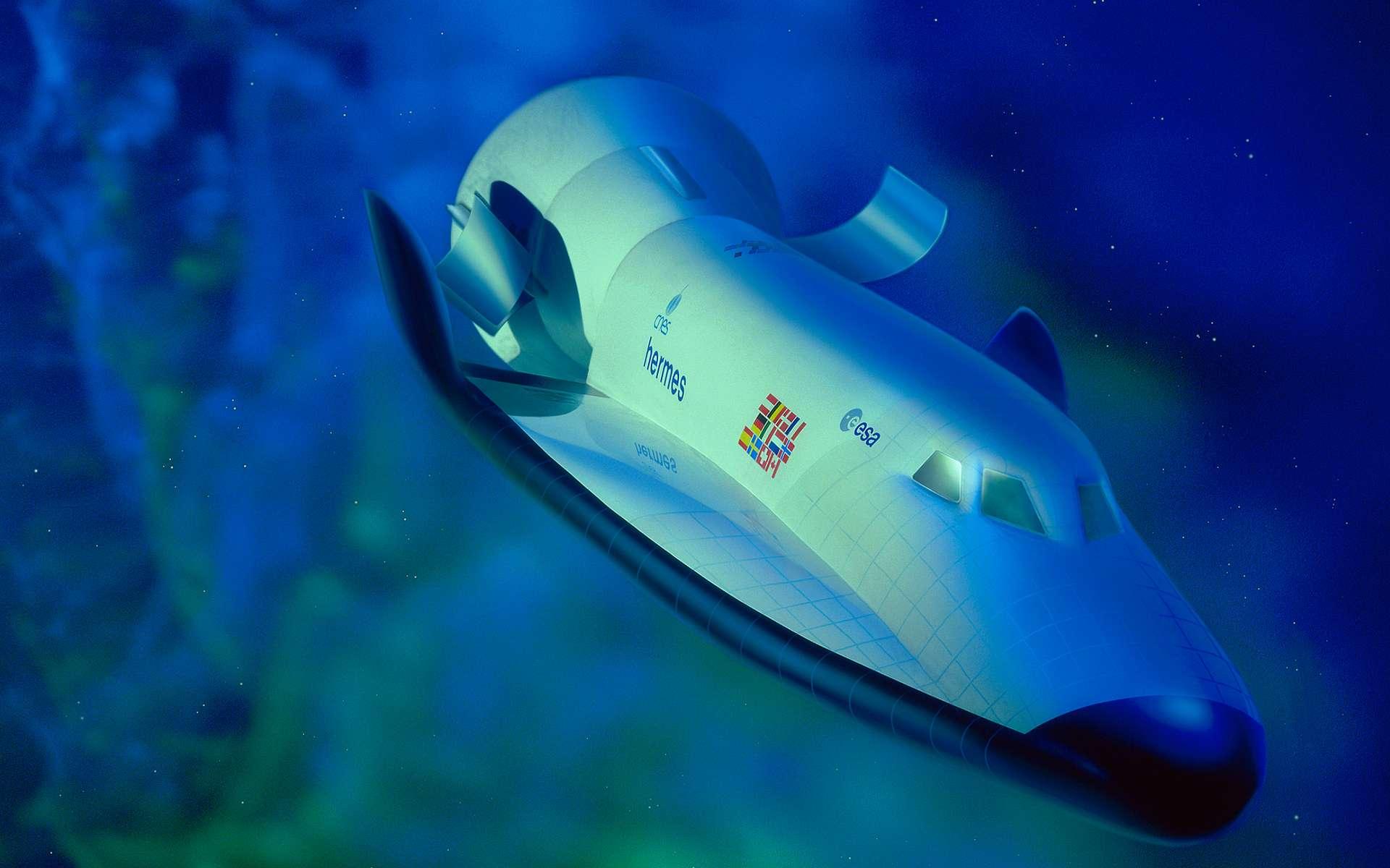 Projet de navette spatiale européenne (Hermès) abandonné huit ans après son démarrage (1984-1992) pour des raisons techniques et financières. © ESA, D. Ducros