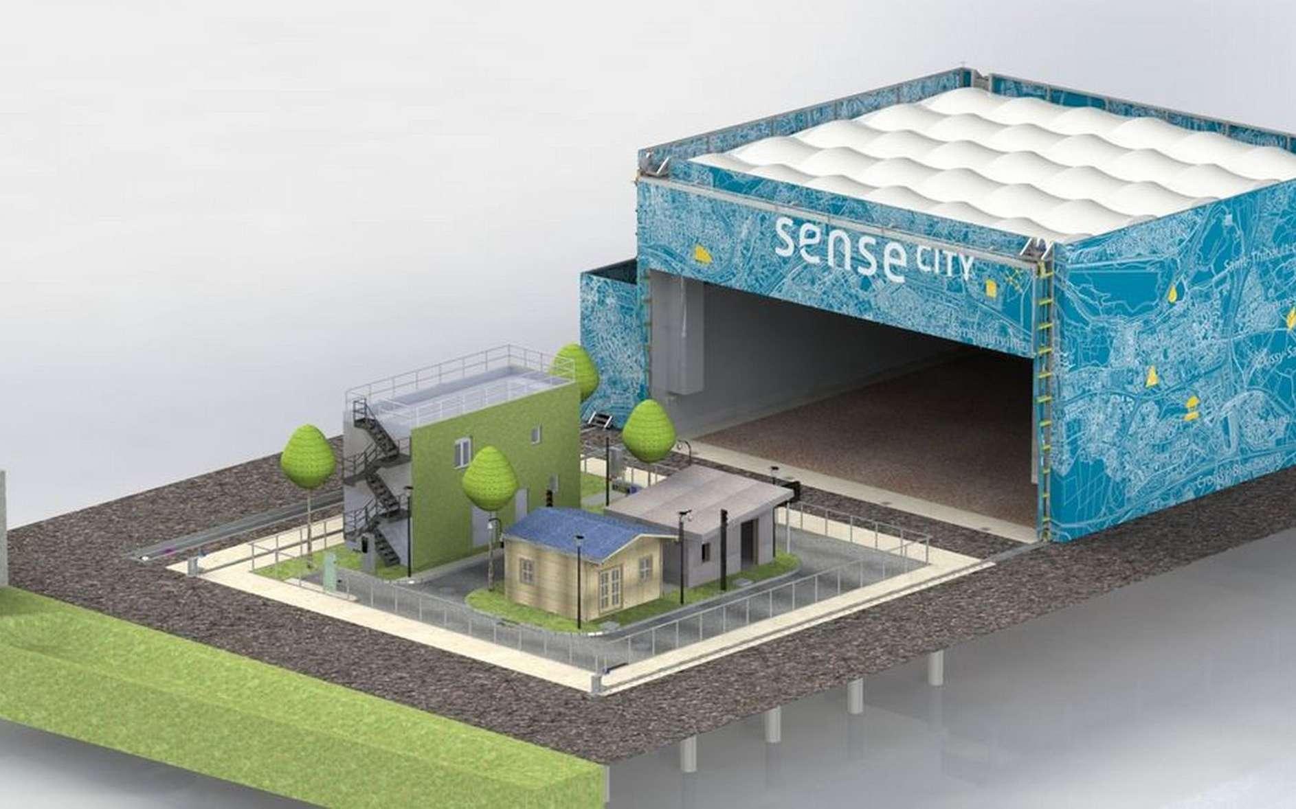 La plate-forme Sense-City se compose de deux « mini-villes » de 400 m² chacune. © Sense-City, Ifsttar