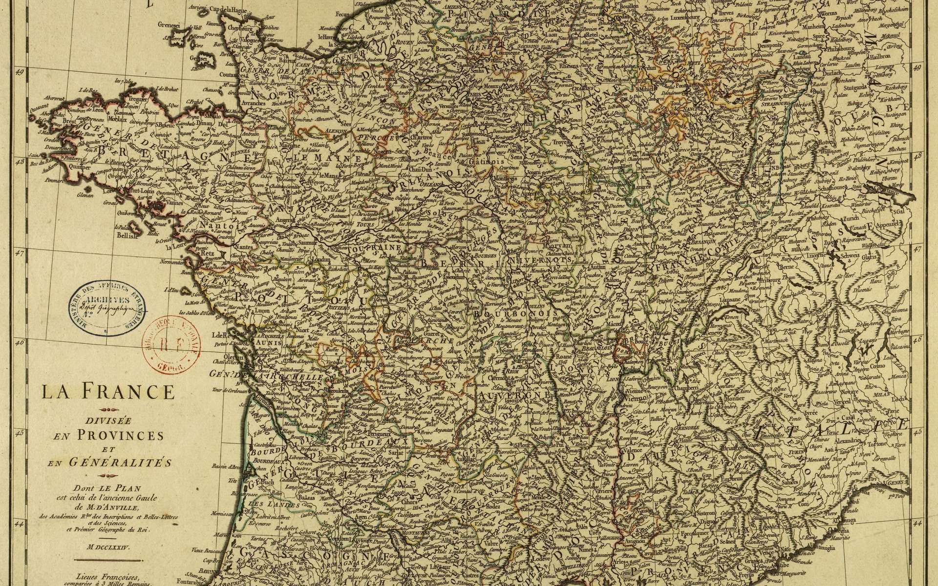 Carte de la France divisée en provinces et en généralités, par J. B. Bourguignon d'Anville, en 1774. Bibliothèque nationale de France. © gallica.bnf.fr, BnF