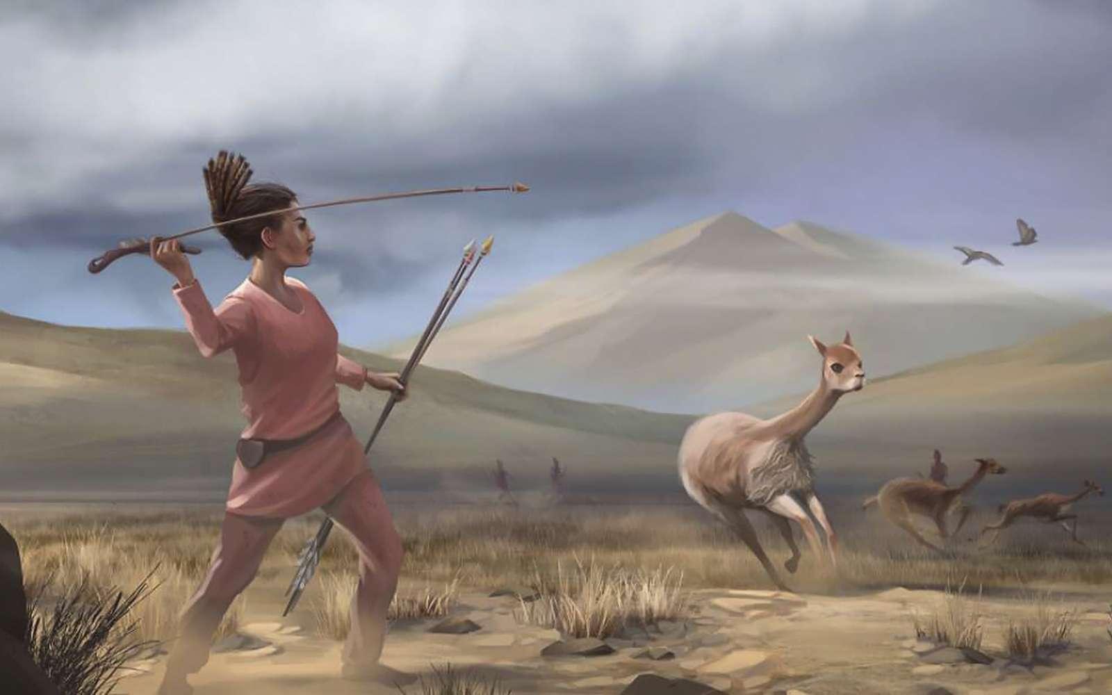 Vue d'artiste d'une jeune femme chassant il y a 9.000 ans, au Pérou. © Matthew Verdolivo, UC Davis IET Academic Technology Services