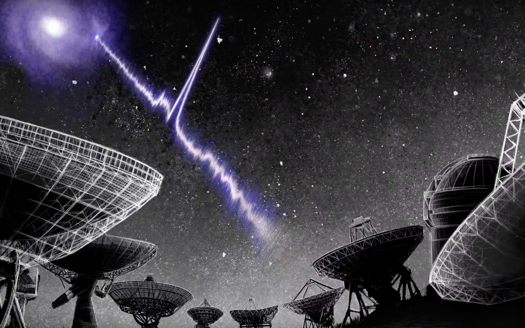 C'est grâce à des données recueillies par le radiotélescope Chime (Canadian Hydrogen Intensity Mapping Experiment) que des astronomes ont mis au jour une périodicité dans l'activité du sursaut radio rapide FRB 189016.J0158+65. Selon un astronome de l'université de Harvard (États-Unis), on ne peut pas exclure qu'il soit le fait d'une civilisation extraterrestre. © Danielle Futselaar, artsource.nl, Institut néerlandais de radioastronomie