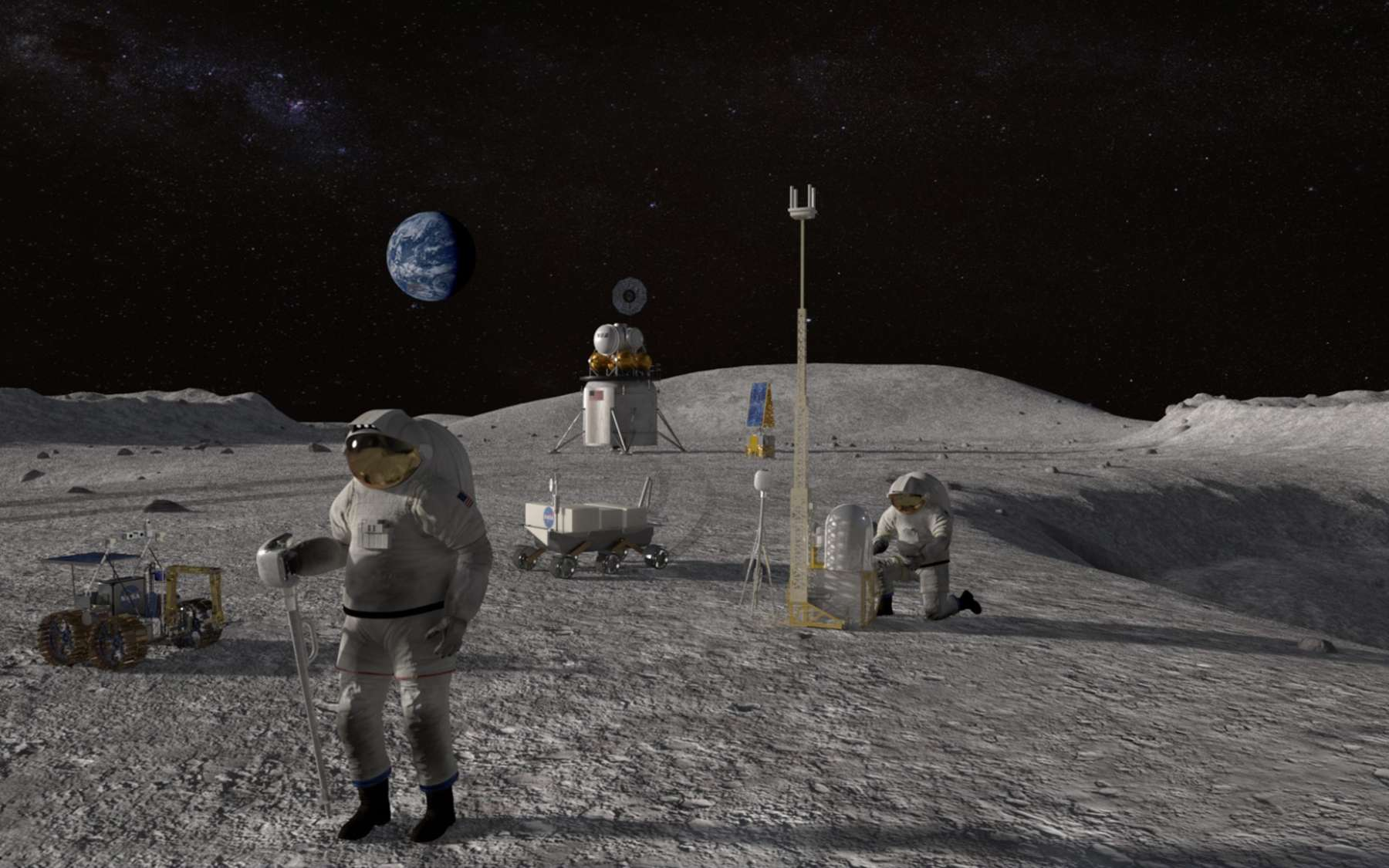 Le programme Artemis de la Nasa prévoit le retour des États-Unis sur la Lune dès 2024. © Nasa