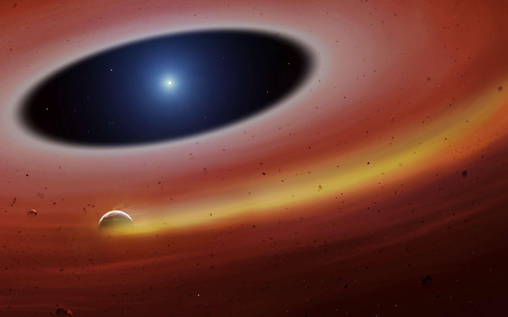 Illustration du corps incandescent et fumant en orbite autour de la naine blanche SDSS J122859.93+104032.9. © Université de Warwick, Mark Garlick