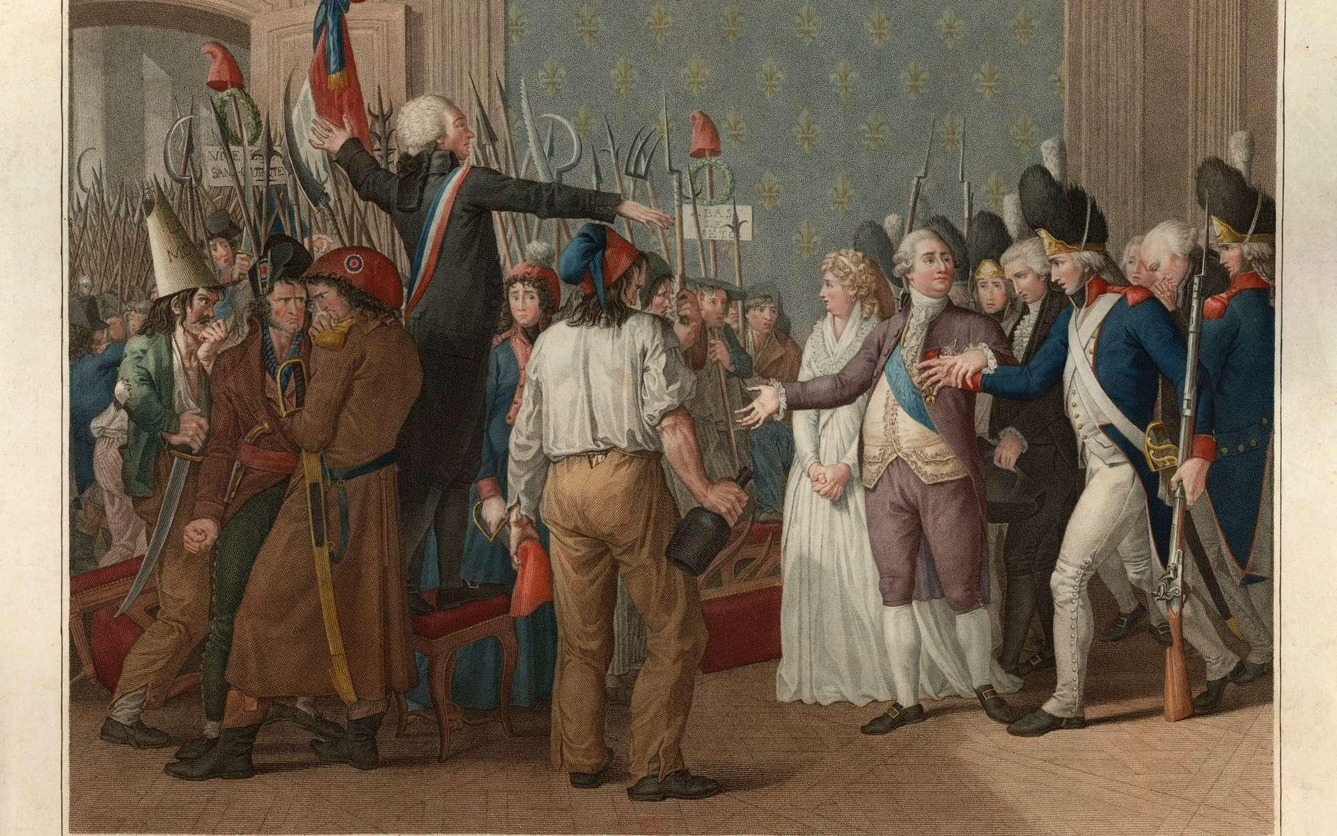 «Journée du 20 juin 1792 au château des Tuileries» d'après la gravure de J-B Vérité (1776-1837). © Bibliothèque nationale de France, DP