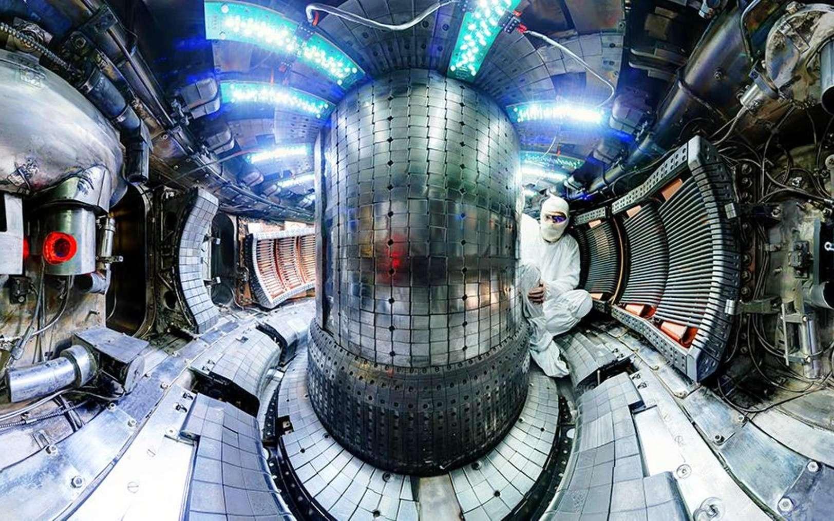 Une vue de l'intérieur du tokamak Alcator C-Mod du MIT. La machine a battu son record du monde pour la pression du plasma dans un tokamak lors de son chant de cygne. © Plasma Science and Fusion Center