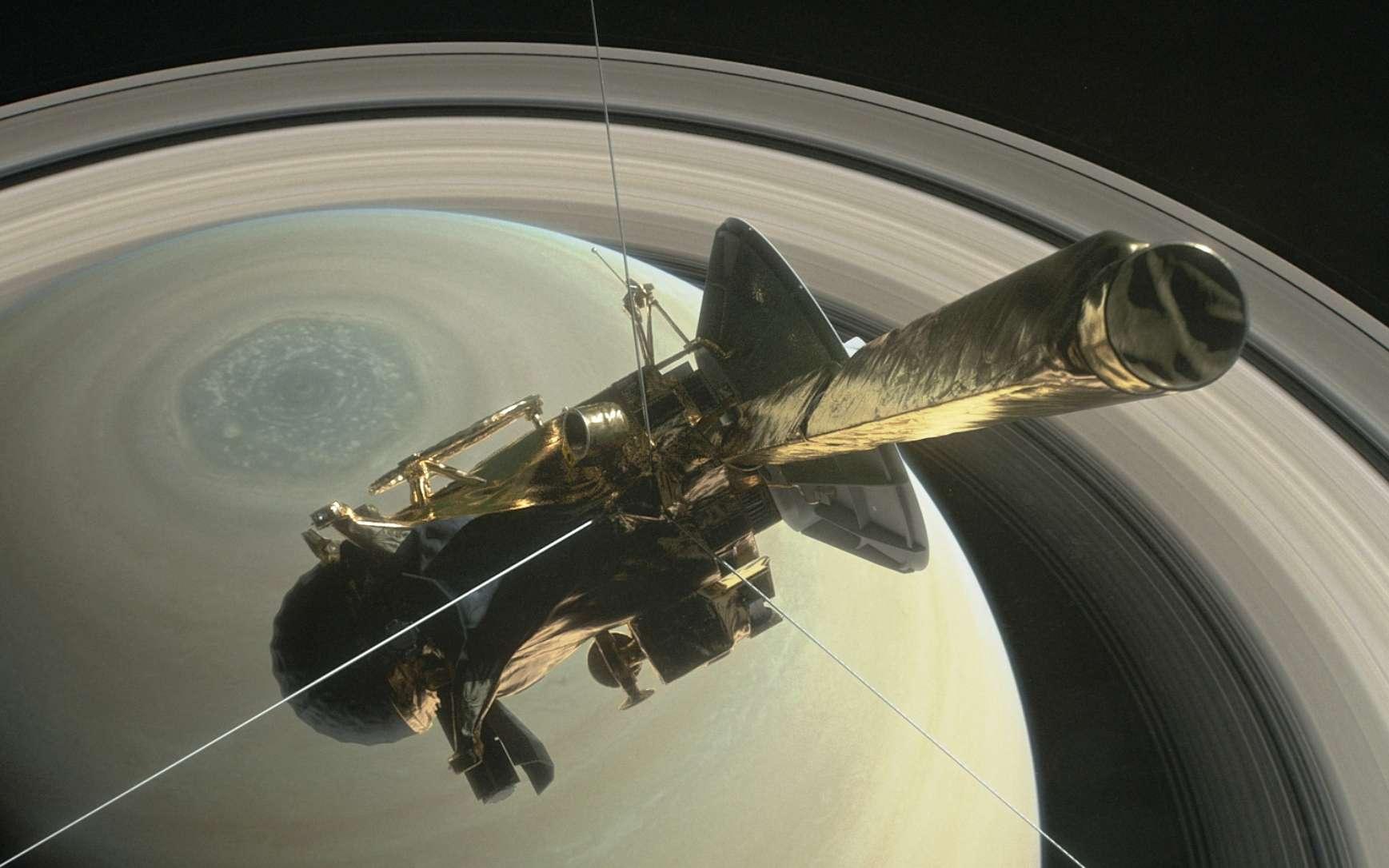 Pourquoi le champ magnétique de Saturne est-il si étrange ? Ici, une vue d'artiste de la mission Cassini avant son plongeon final dans Saturne. © Nasa, JPL-Caltech