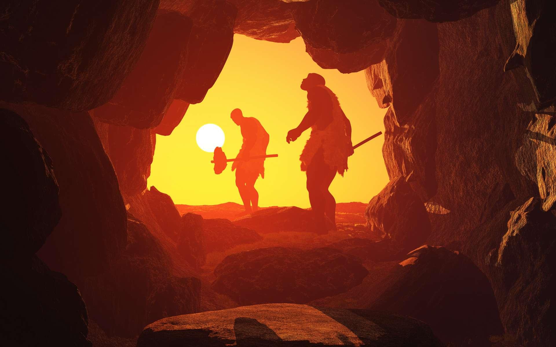 Illustration de deux Hommes préhistoriques dans une grotte. © Kovalenko I, Adobe Stock