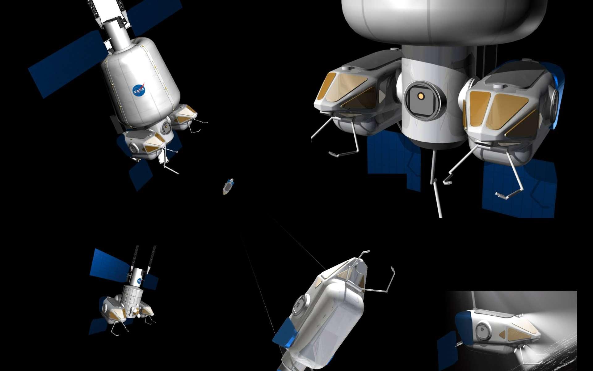Le nœud de jonction Harmony pourrait être utilisé comme élément central d'une variété d'engins spatiaux. Crédits Nasa / JPL