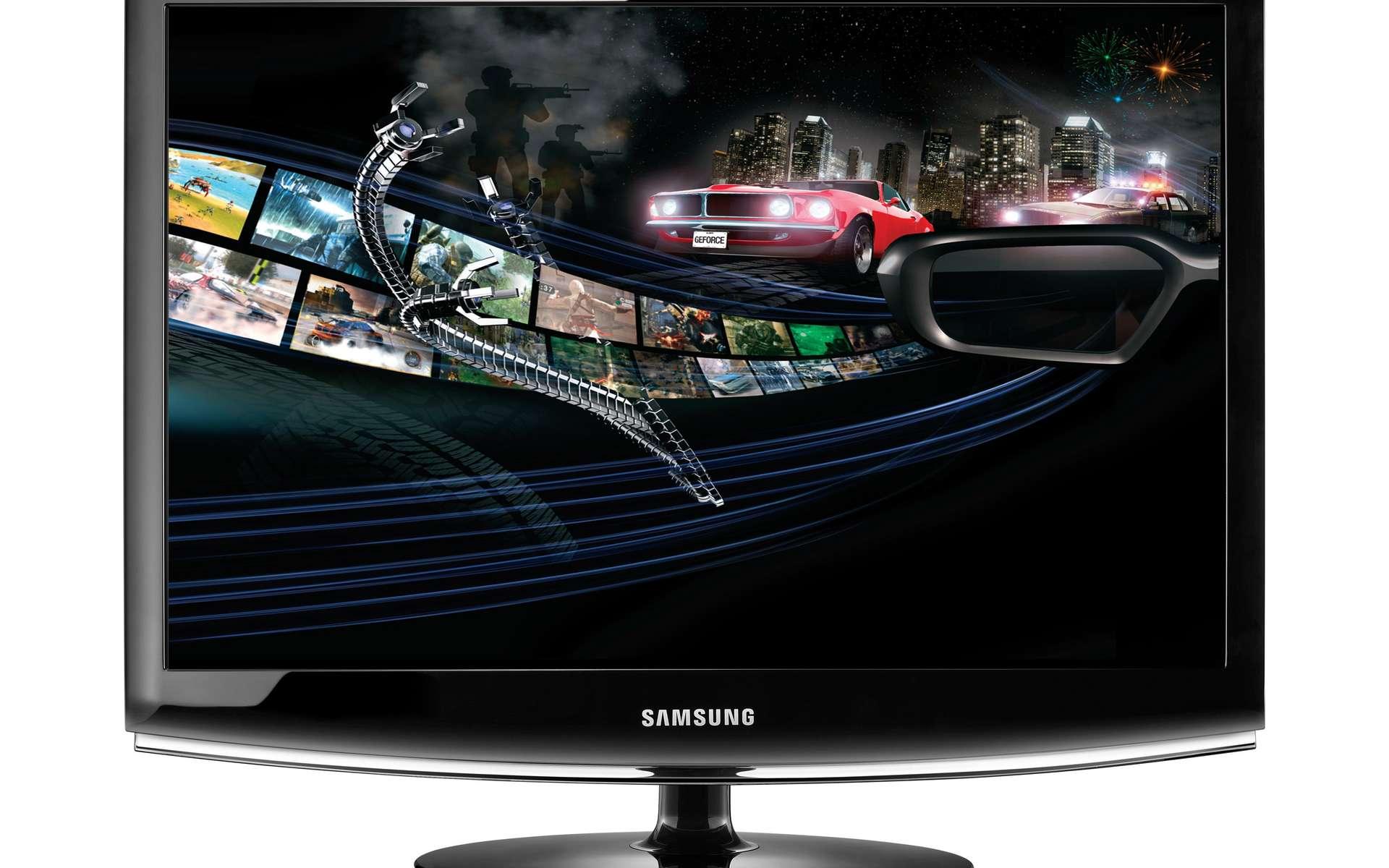 Avec des lunettes spéciales à obturateur électronique, qui cachent et découvrent alternativement chacun des yeux, et une carte graphique Geoforce 3D de Nvidia, le SyncMaster 2233RZ permet de profiter de films et de jeux vidéo en 3D. © Samsung