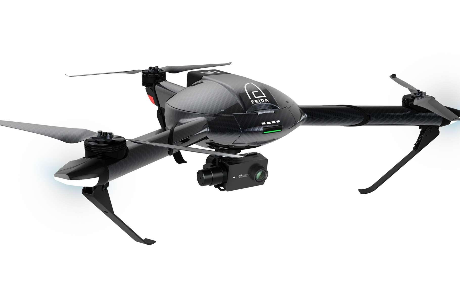 Outre sa pointe de vitesse record, le drone tricoptère YI Erida dispose d'une caméra motorisée qui filme en Ultra HD à 30 images/seconde. © YI Technology