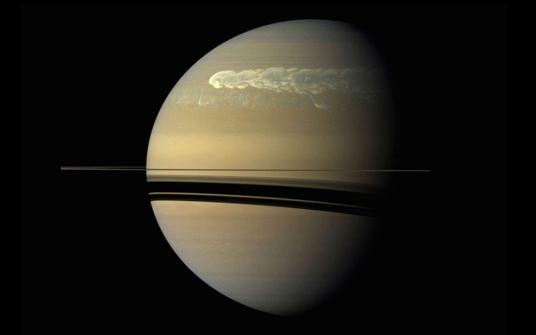 Une tempête géante filmée par Cassini entre 2010 et 2011. © Nasa, JPL, Space Science Institute