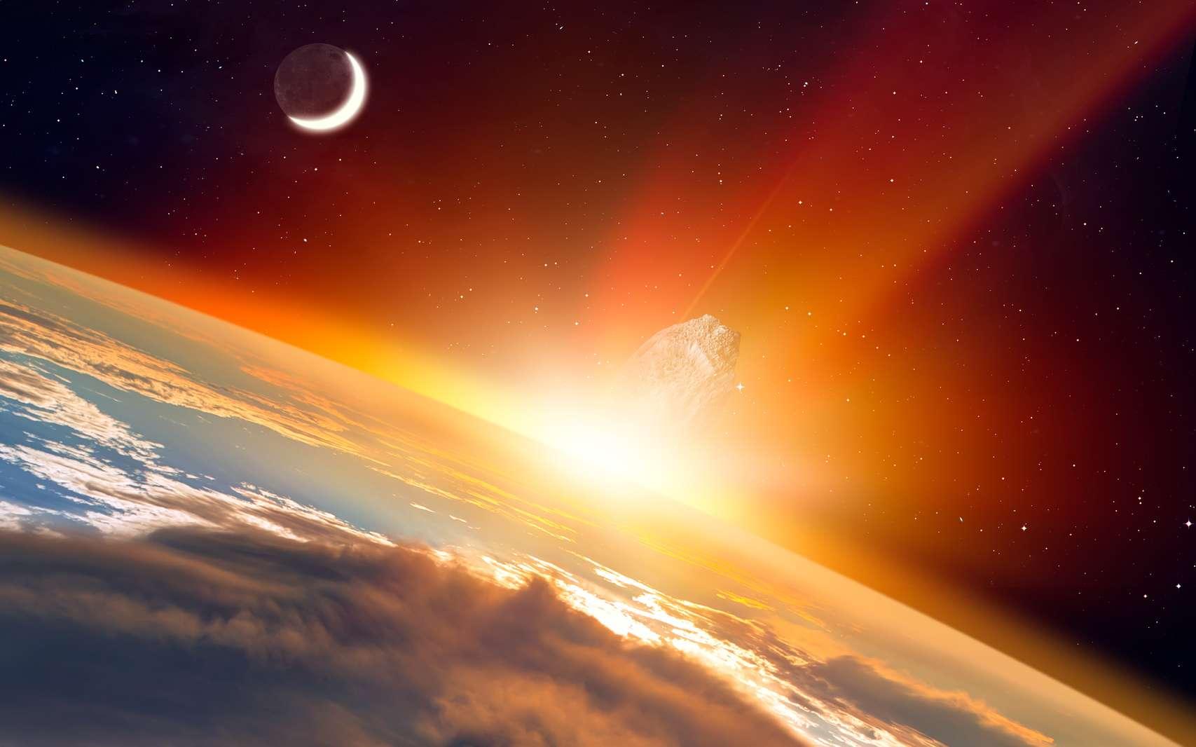 Illustration de l'impact d'un astéroïde sur la surface de la Terre. © muratart, fotolia