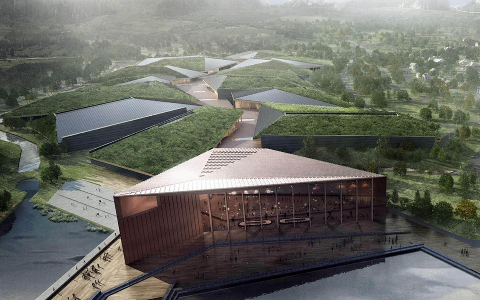 Cette représentation nous montre à quoi ressemblera le plus grand centre de données du monde implanté dans le nord de la Norvège. © Kolos, HDR