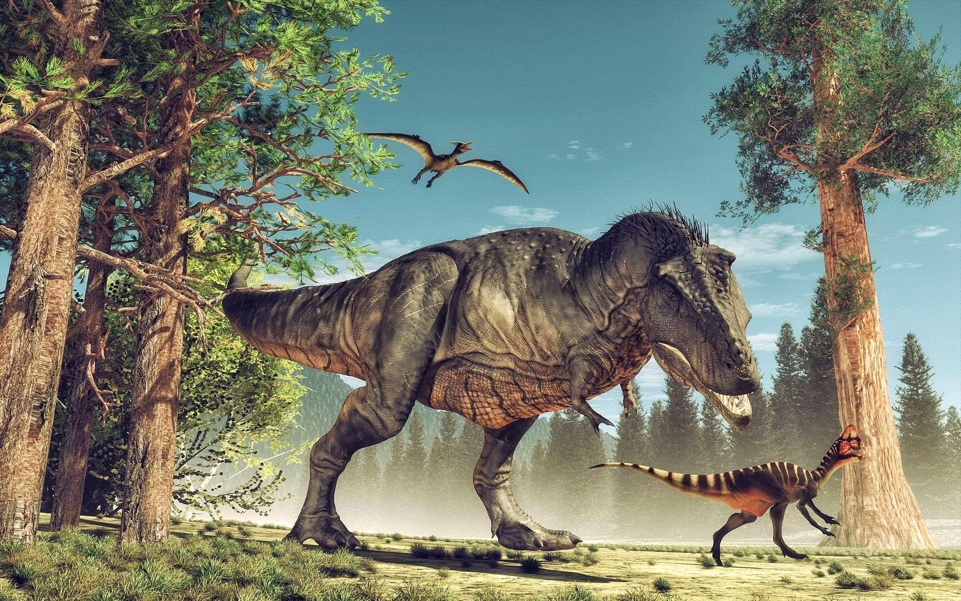 Des dinosaures de toute sorte cohabitent sur la terre de Maple White. © Orlando Florin Rosu, Adobe Stock