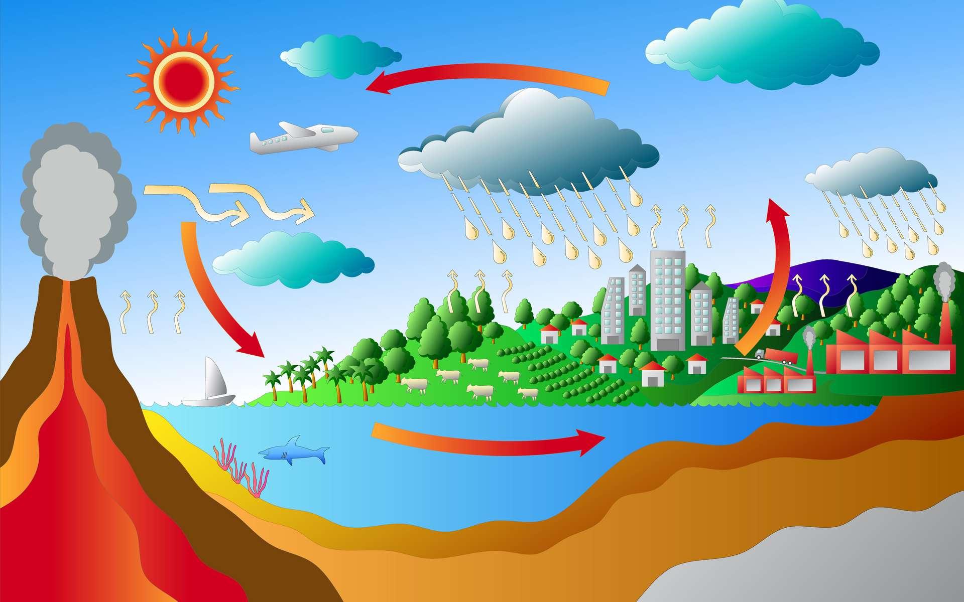 Le cycle du carbone représente l'ensemble des échanges du carbone sur Terre. © bubblea, Adobe Stock