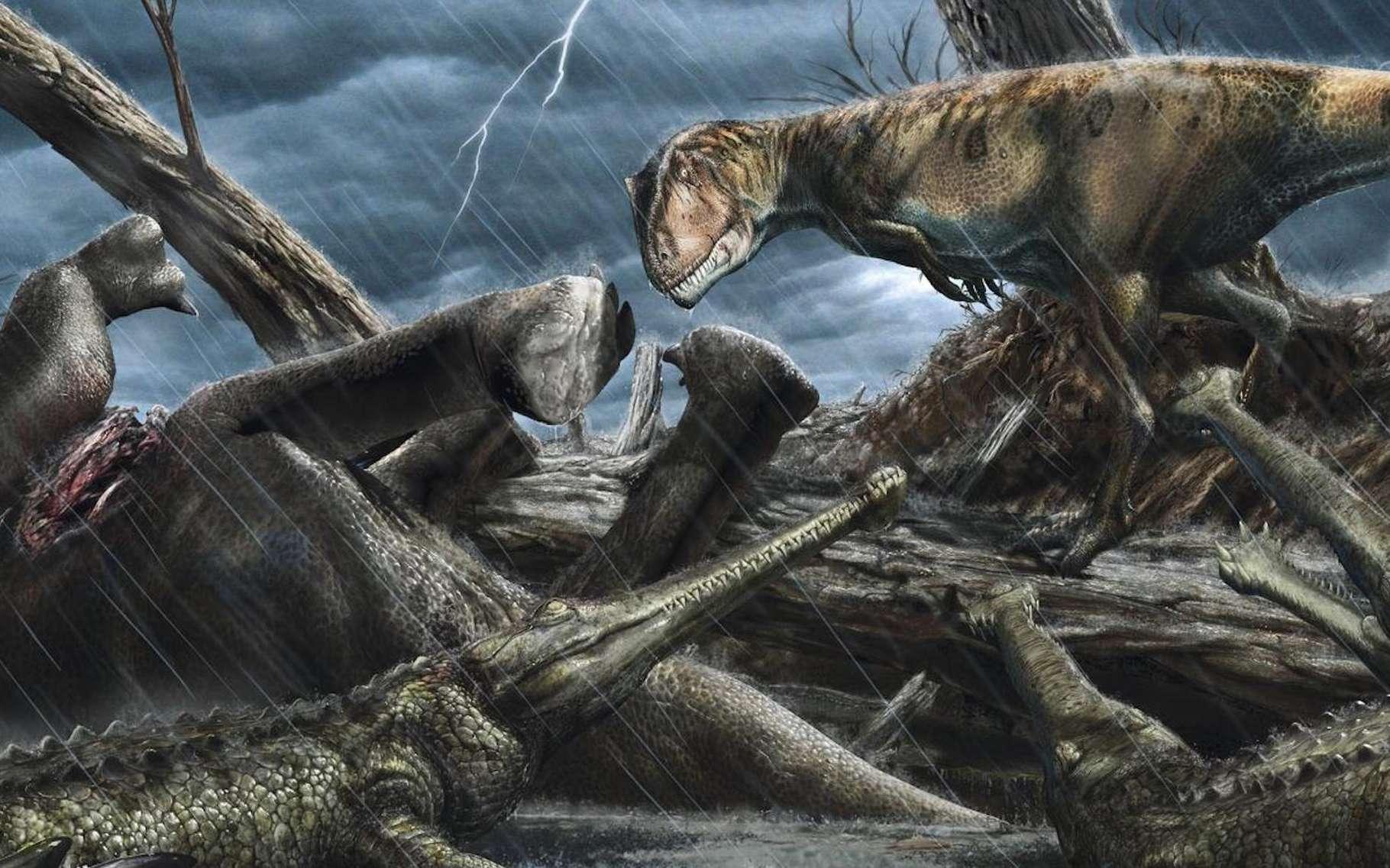 Le dinosaure prédateur géant qu'est le Carcharodontosaurus observe ici un groupe d'Elosuchus — des chasseurs ressemblant à des crocodiles — près d'une carcasse. Une scène qui a pu se jouer dans ce paradis des carnivores situé dans le sud-est du Maroc. © Davide Bonadonna, Université de Portsmouth