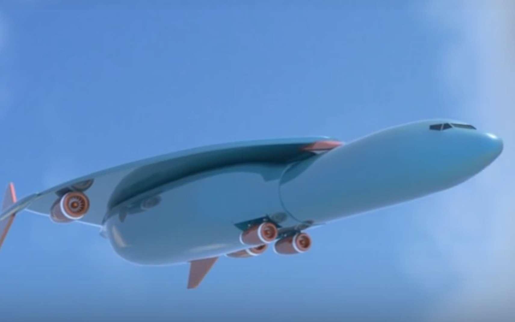 L'avion hypersonique imaginé chez Airbus dans le cadre d'un dépôt de brevet pourrait relier Paris à New York en seulement un peu plus d'une heure. Ici une capture d'écran issue de la vidéo du blogger Deepak Gupta. © PatentYogi, Youtube