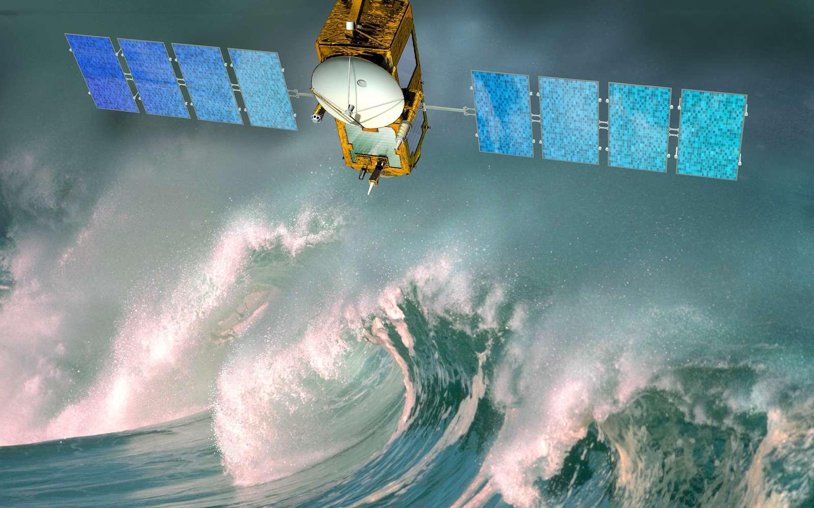 D'une masse au lancement de 553 kg, avec une puissance électrique de 550 W et une précision de pointage de 0,15°, Jason-3 sera lancé vers la mi-2013 en vue d'une mission de 5 ans. Crédit Cnes / D. Ducros