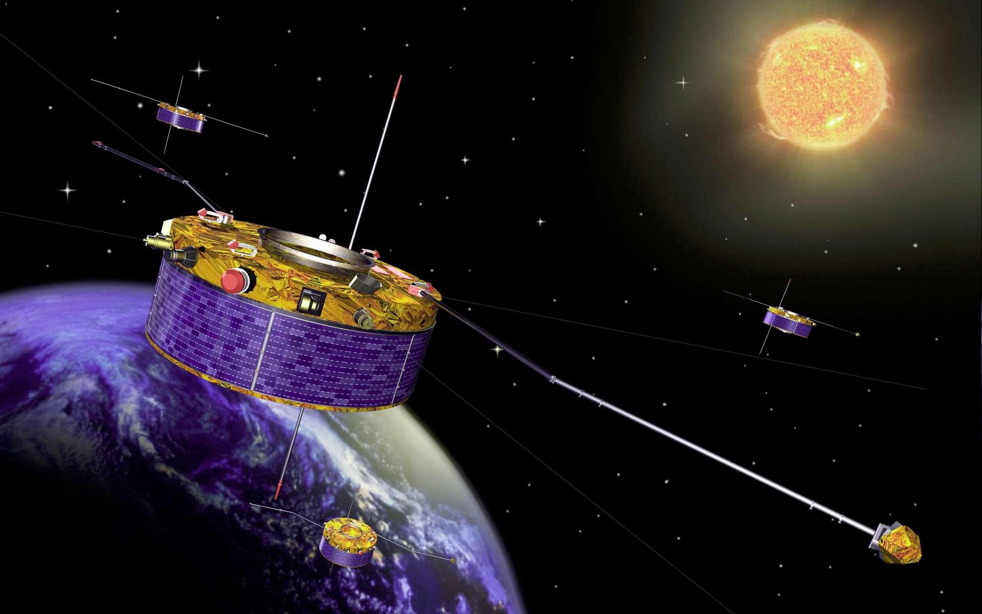 Illustration des quatre satellites de la mission Cluster. © ESA, Nasa
