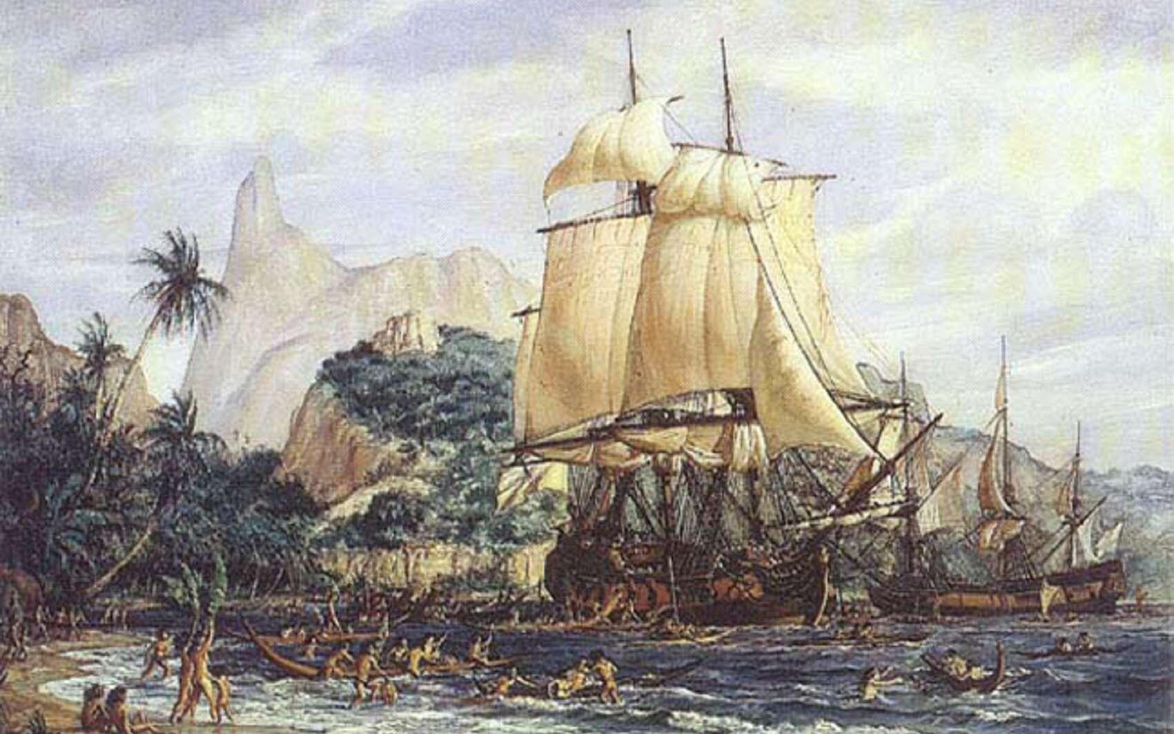 Arrivée de Bougainville à Tahiti en avril 1768, par Gustave Alaux.© Musée national de la Marine.