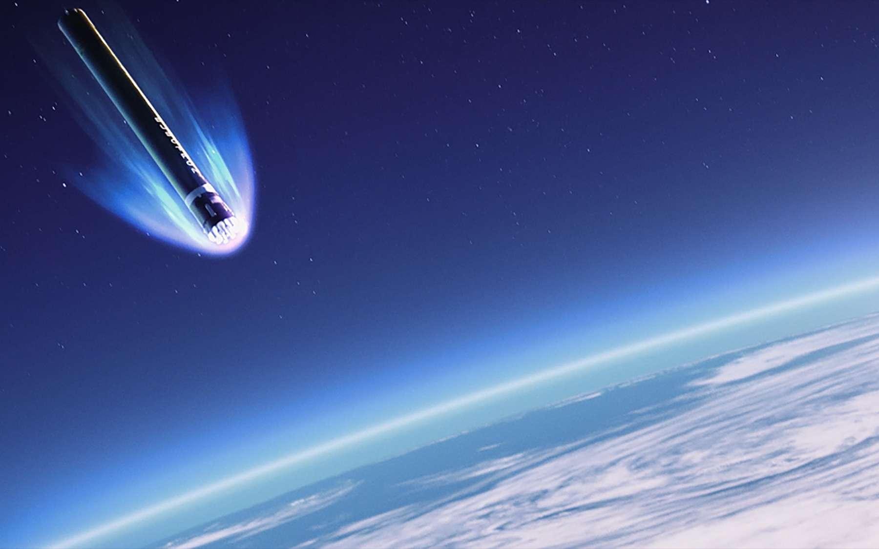 Vue d'artiste de l'étage principal du petit lanceur Electron, descendant dans l'atmosphère après sa mission. © Rocket Lab