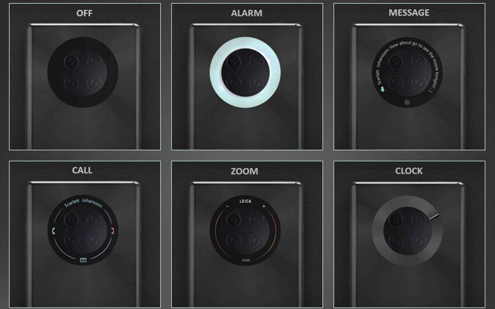 Le prochain smartphone de Huawei pourrait arborer un écran tactile autour de l'appareil photo. © Huawei