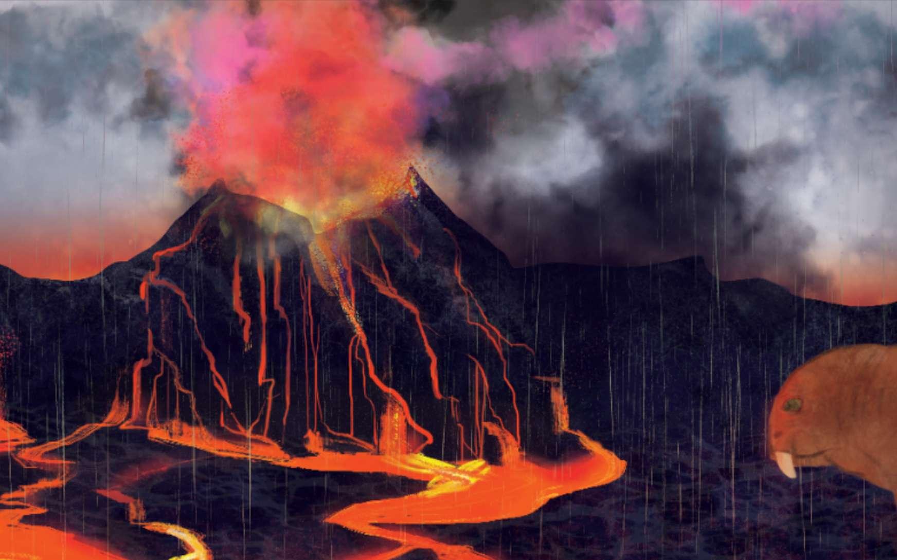 Le volcanisme, dans la province de Wrangelia, serait responsable de l'extinction du Carnien. © Illustration, Margaret Weiner, UC Creative Services