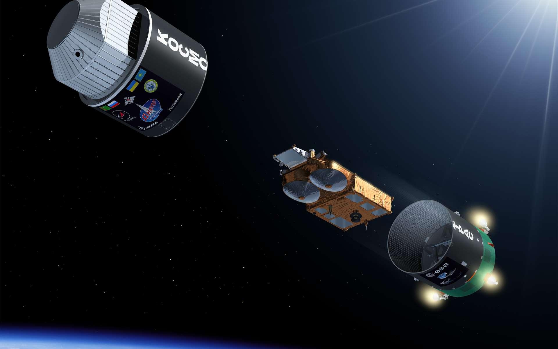 Une image de synthèse montrant le largage du satellite Cryosat-2 par le dernier étage du lanceur Dnepr. © Esa / P. Carril