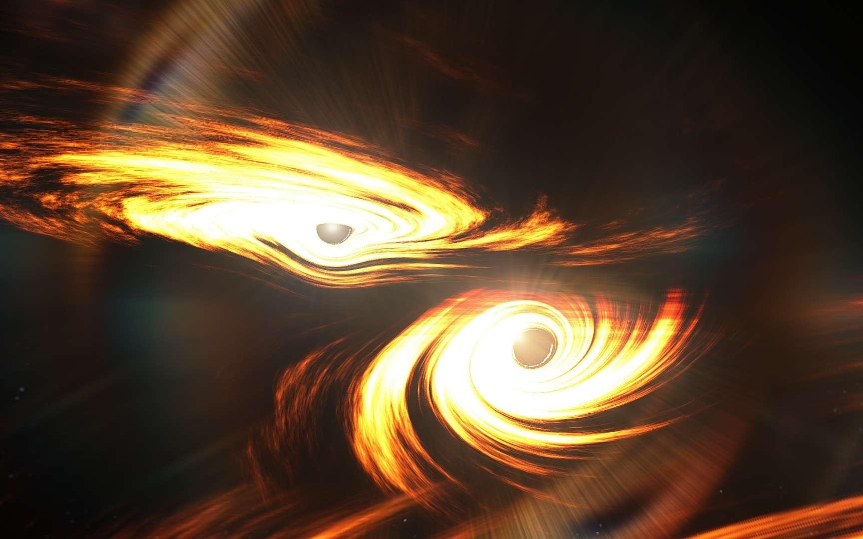 Une image d'artiste montrant l'origine du signal dont l'observation a été faite par les détecteurs d'ondes gravitationnelles Ligo et Virgo le 21 mai 2019 (GW190521). Il devait s'agir d'une collision de trous noirs. © Mark Myers, ARC Centre of Excellence for Gravitational Wave Discovery (OzGrav).