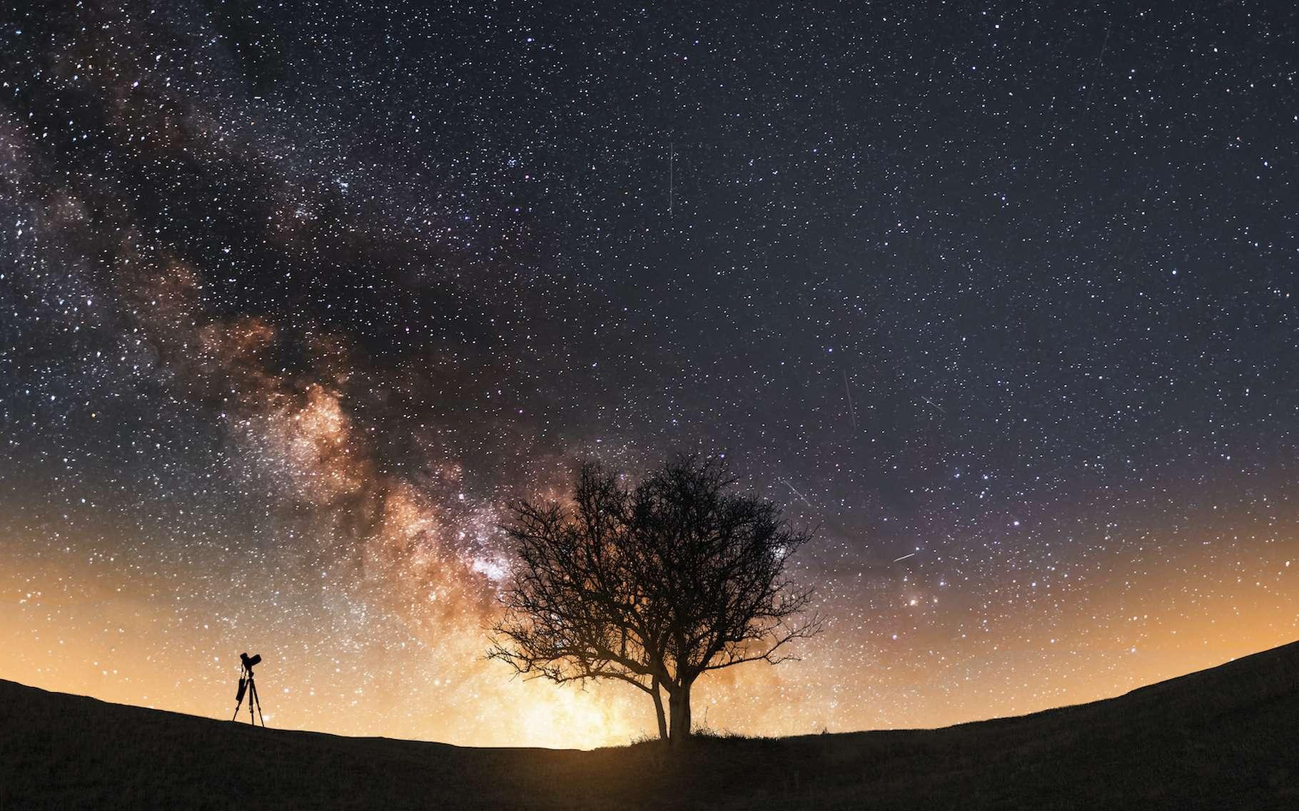 Des chercheurs de l'université de Harvard (États-Unis) ont établi une carte de la région externe du halo de la Voie lactée sur laquelle apparaît le sillage du passage de la galaxie du Grand nuage de Magellan laissé dans la matière noire. © Inga Av, Adobe Stock