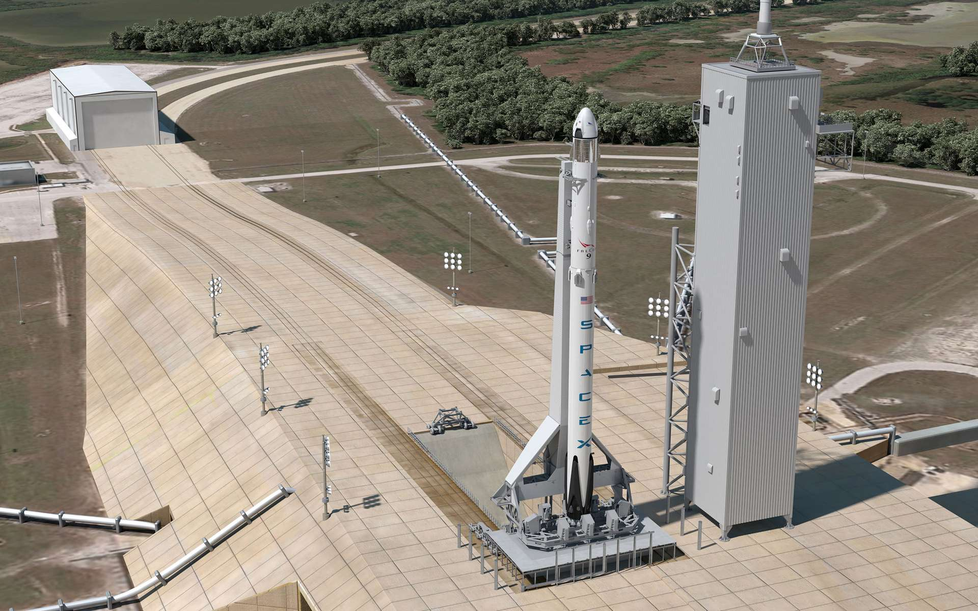 La version habitée du système de lancement Falcon 9 de SpaceX dont un important essai d'éjection d'urgence de la capsule est prévu cette année. © SpaceX