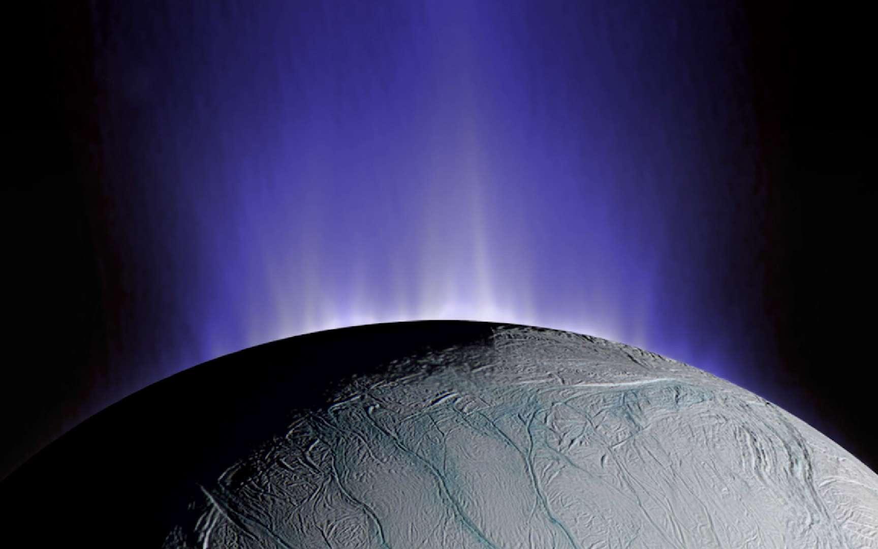 Vue d'artiste des jets de matière localisés au pôle sud d'Encelade. © Vue d'artiste, Nasa