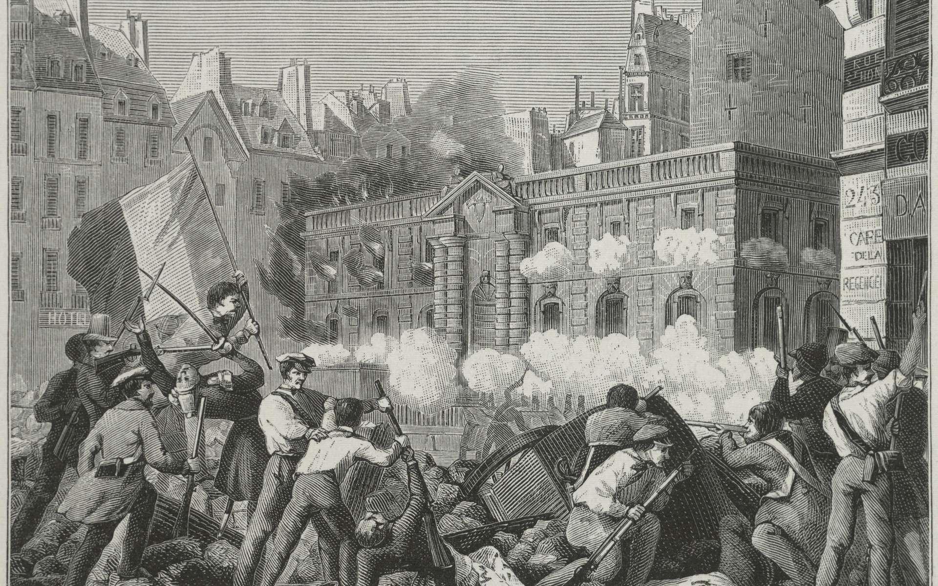 La prise du château d'eau à Paris lors de la révolution de 1848. © Theodor Hoffbauer, Wikimedia Commons, domaine public