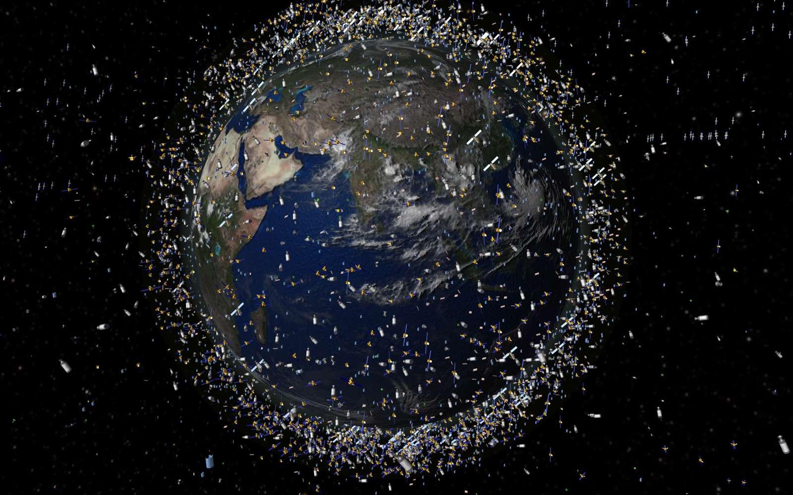 Une représentation, en vue d'artiste, du nombre de satellites présents sur les orbites basses les plus utilisées. © Esa